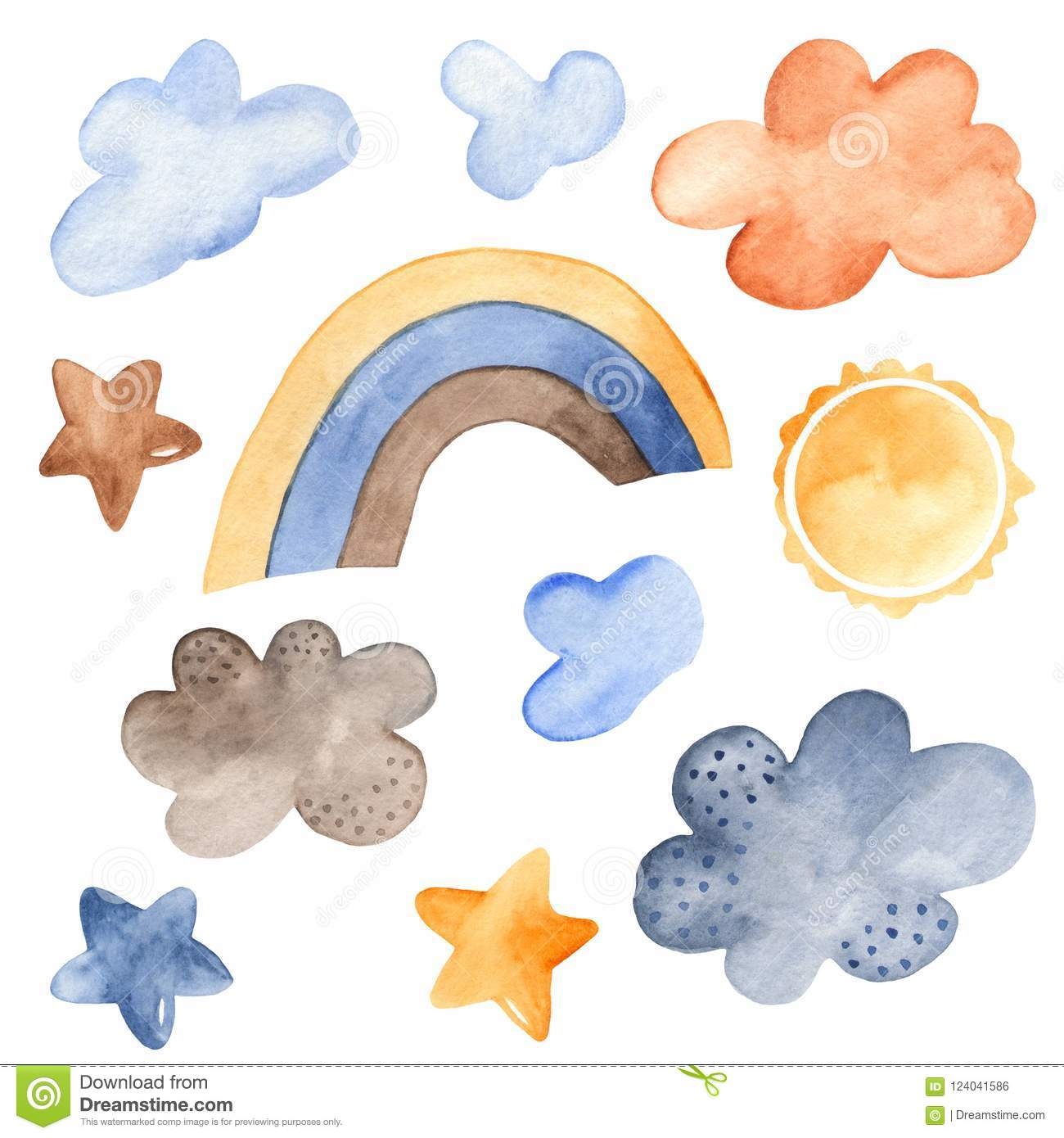 Watercolor set of weather forecast.