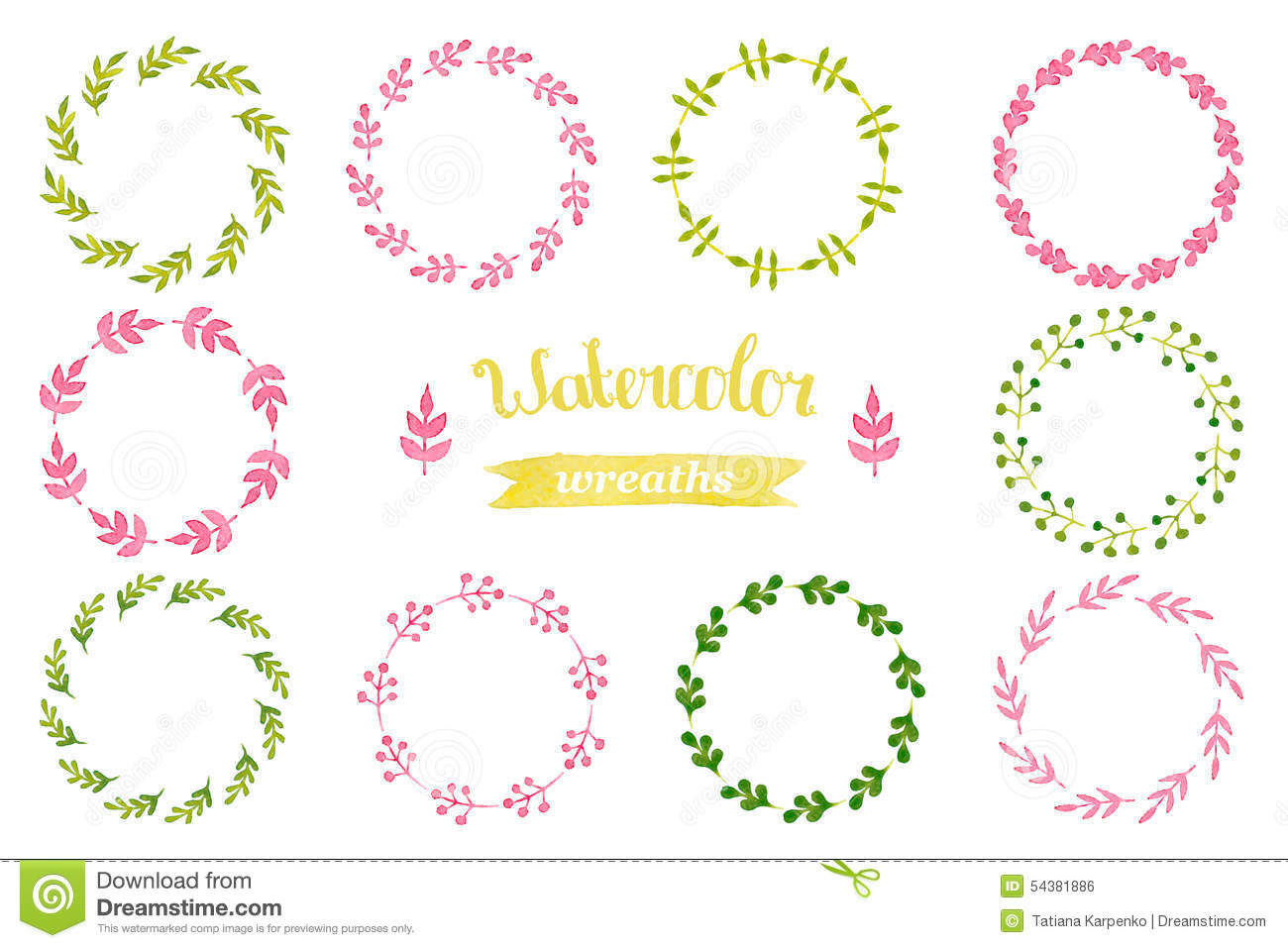 Of Wreaths Watercolor Floral Set Of Wreaths Stock Vector Image 49490831