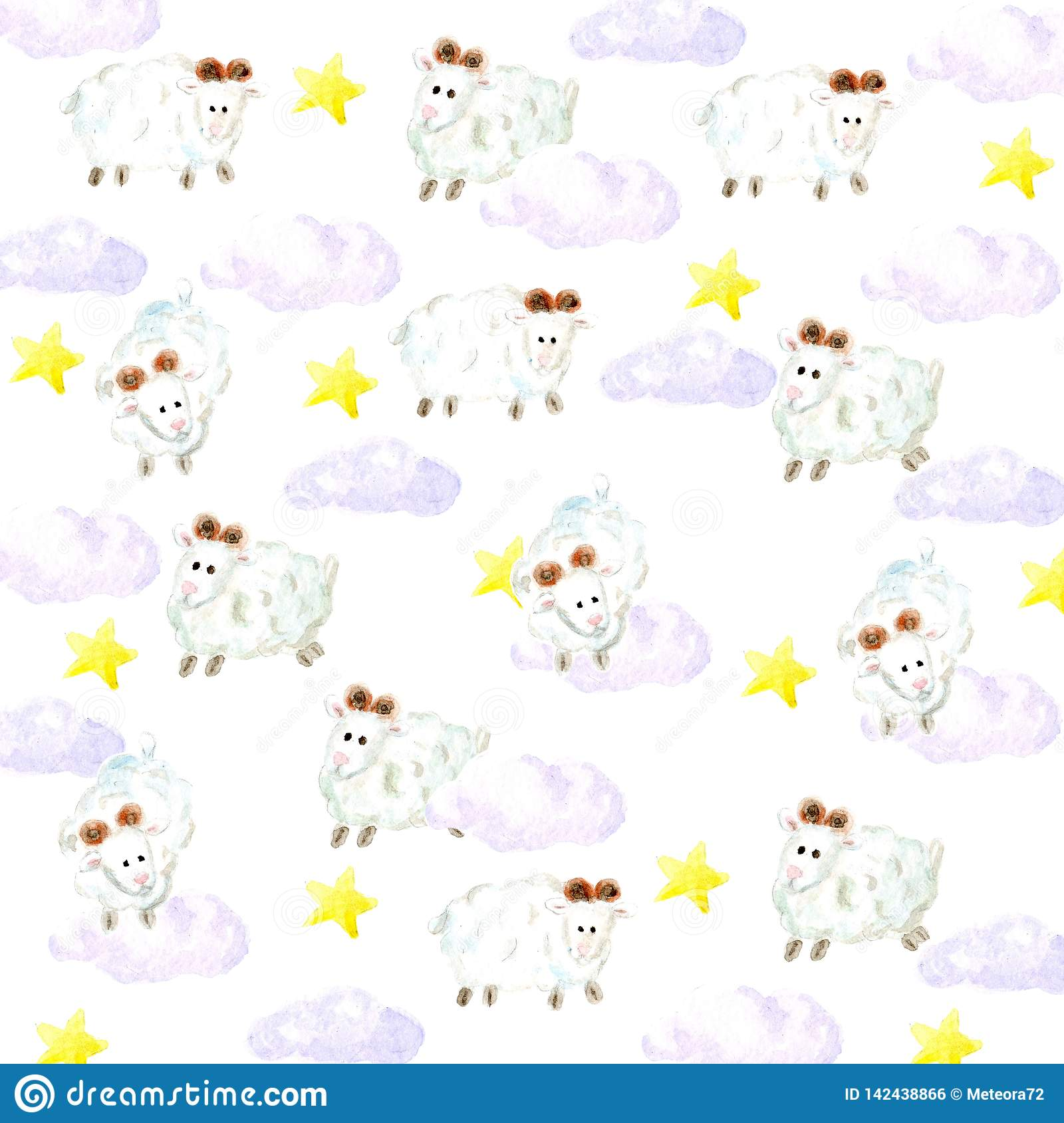 Watercolor sheeps, stars and clouds background