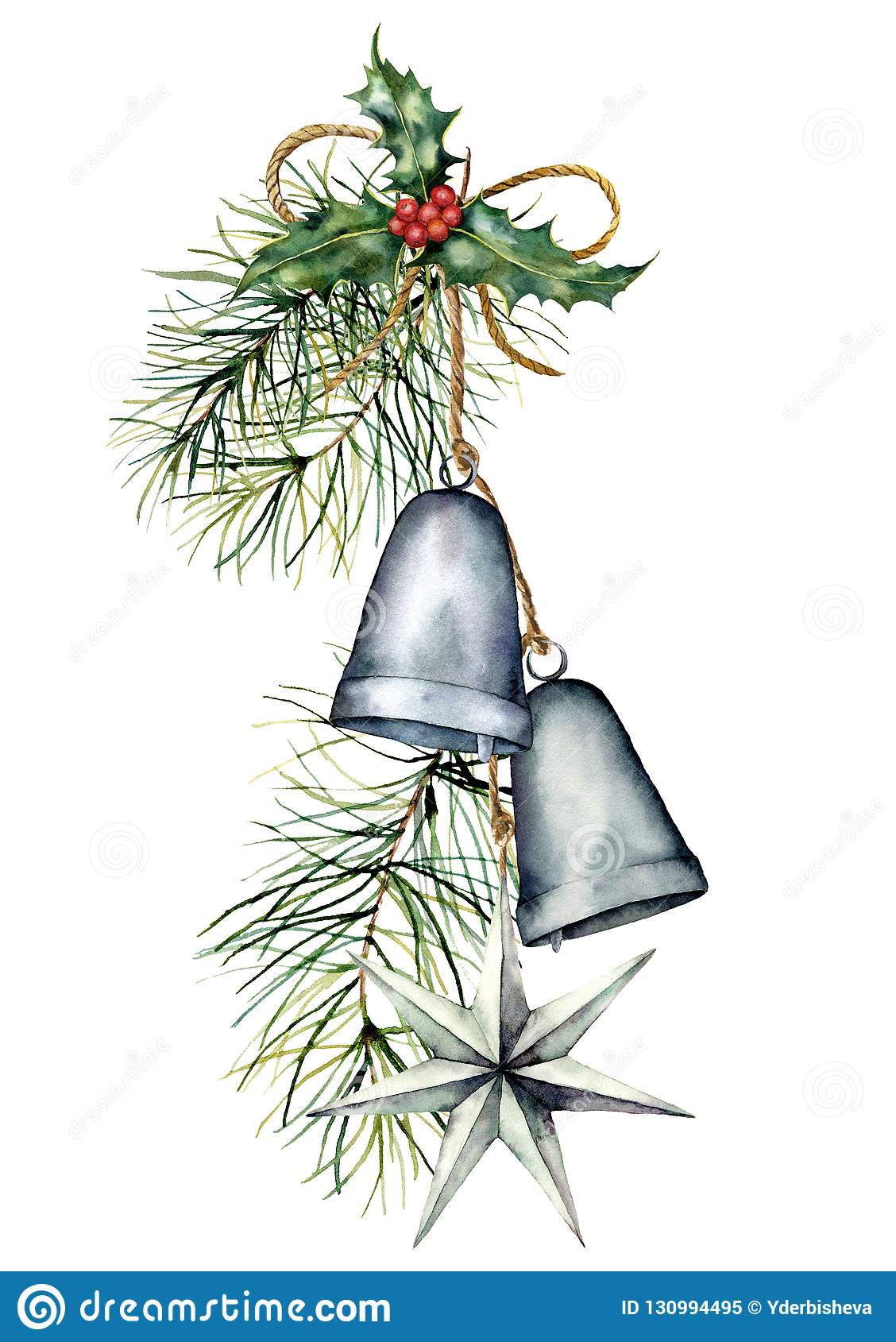 Watercolor silver Christmas bells garland with holiday decor. Hand painted traditional bells with holly, star and