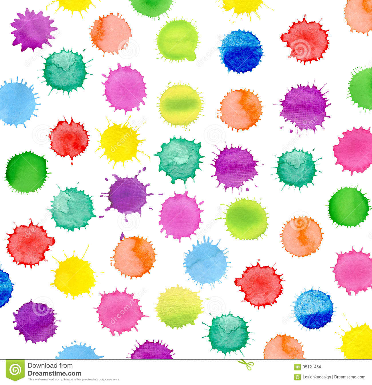 watercolor simple polka dot background stock illustration