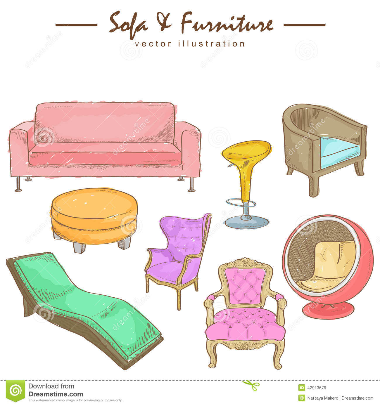 Watercolor sketch of furniture stock vector illustration for Furniture drawing software free