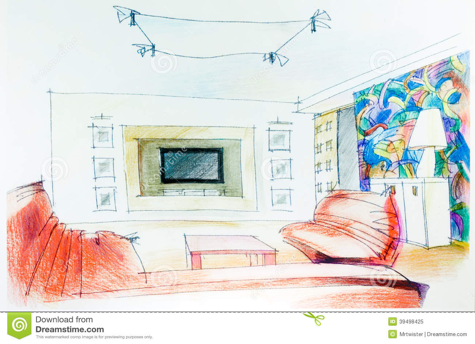 Watercolor Sketch Of An Interior