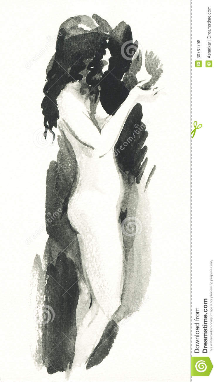Watercolor sketch of a nude woman stock illustration