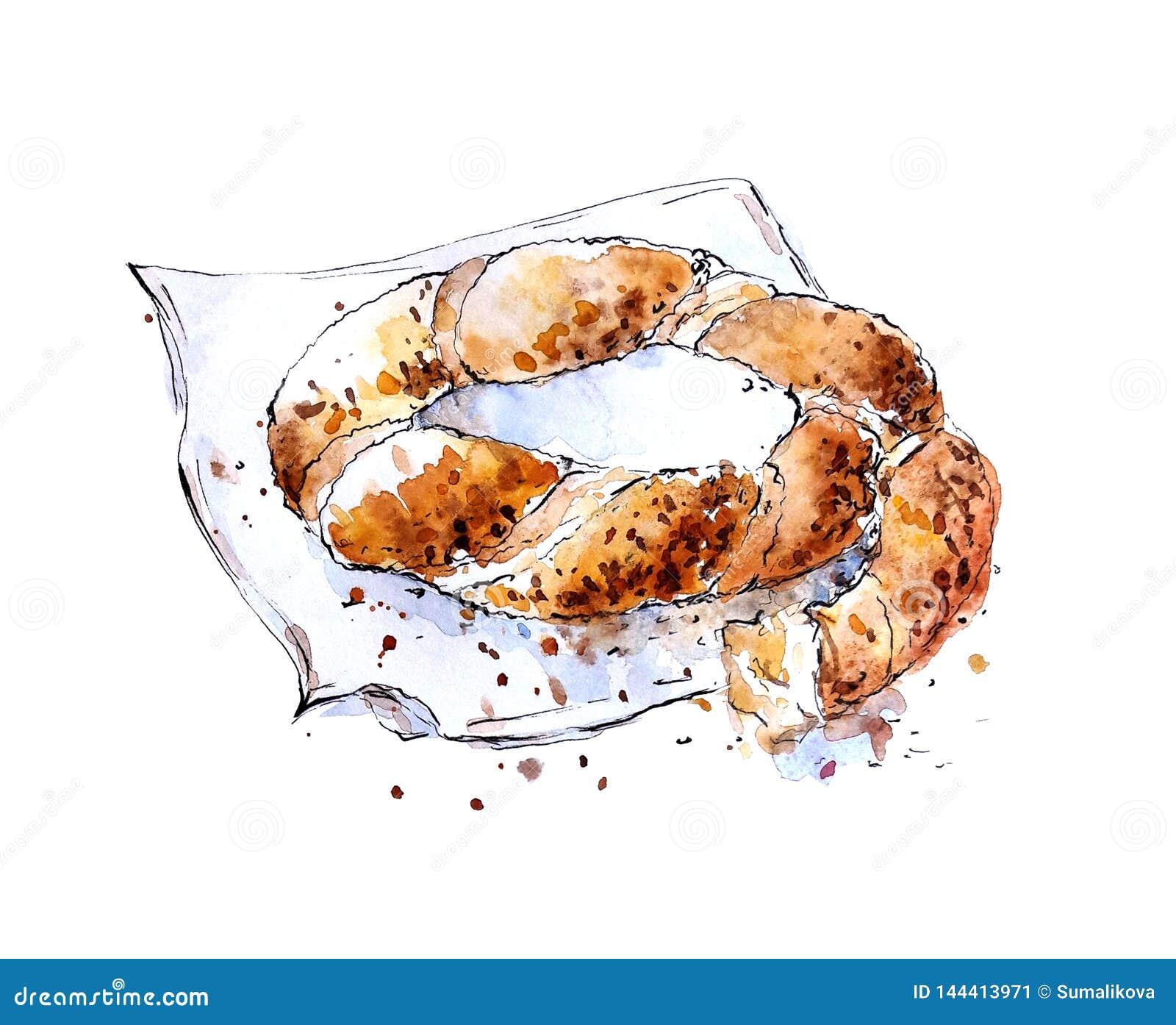 Watercolor Sketch Of Turkish Bagel Simit Stock Illustration Illustration Of Napkin Card 144413971