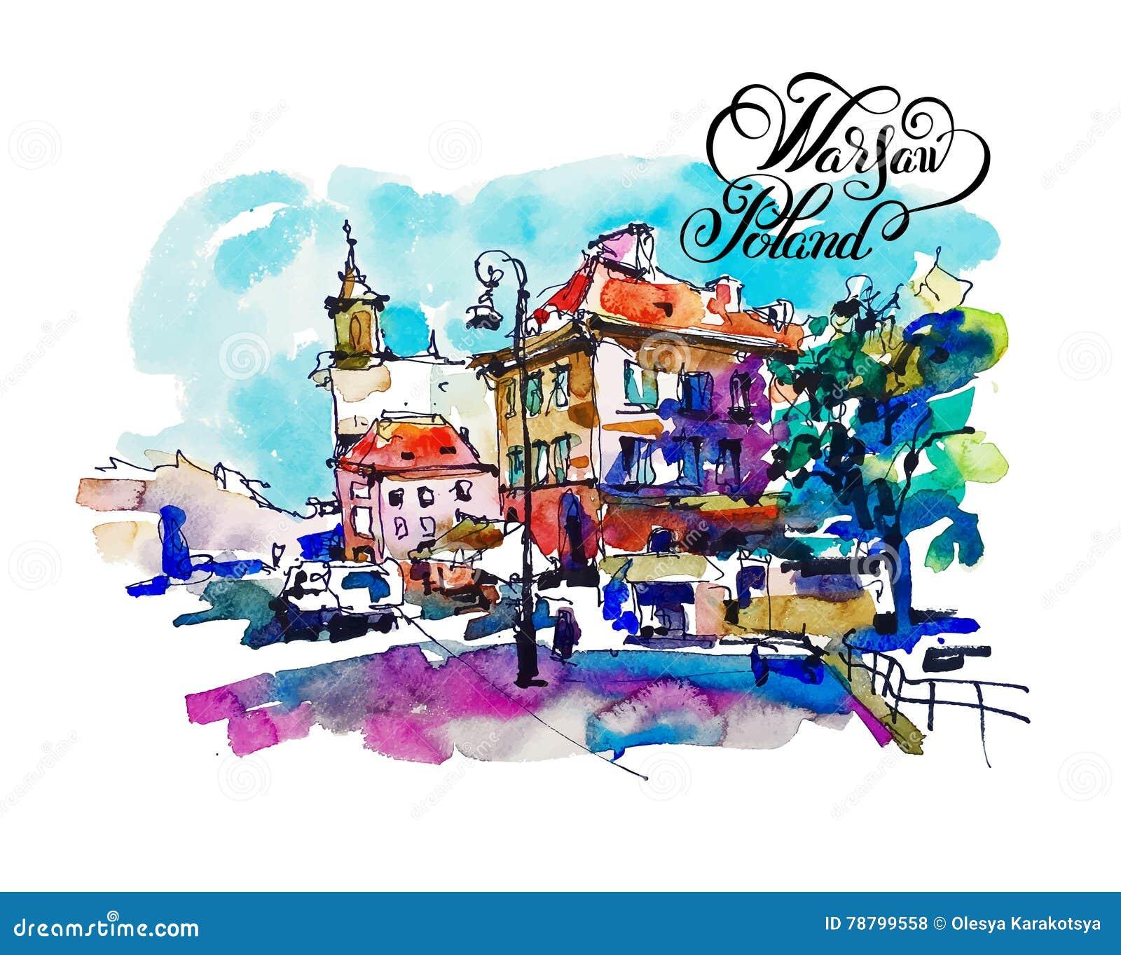 Watercolor sketching old town historical buildings Warsaw