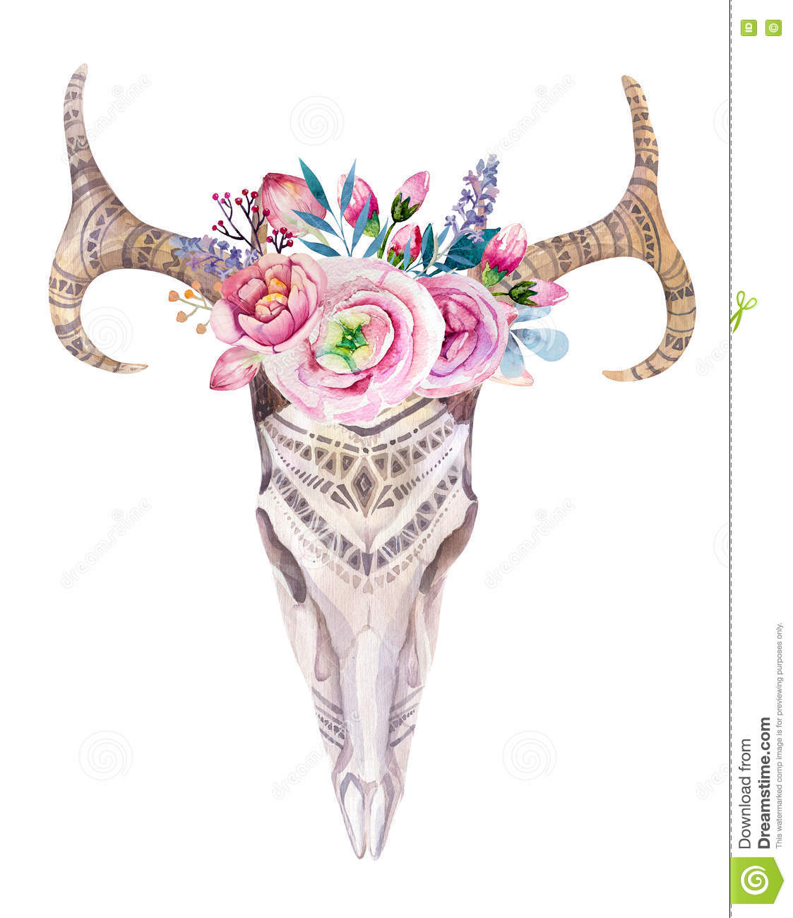watercolor skull with flowers arrows and feathers boho triba