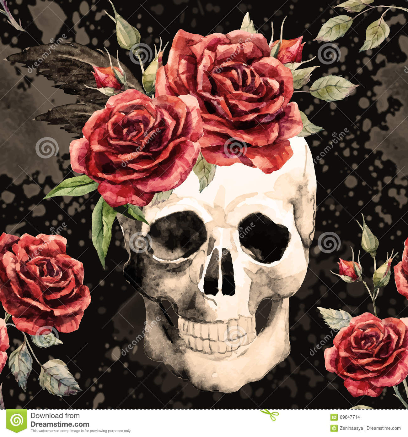 Watercolor Skull And Roses Pattern Stock Vector Illustration Of