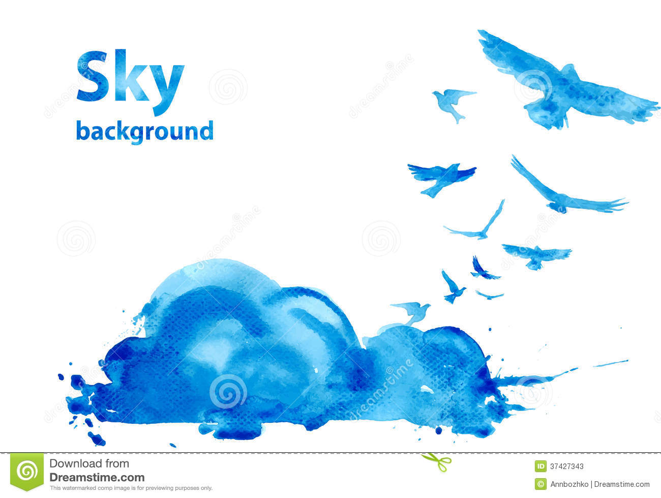 Watercolor Sky Background Stock Photos - Image: 37427343