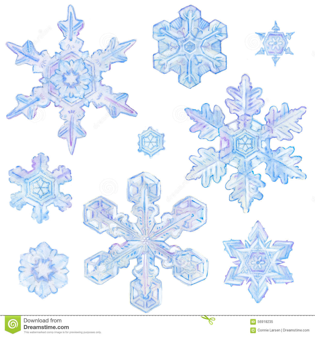 Watercolor snowflakes stock illustration image 56918235