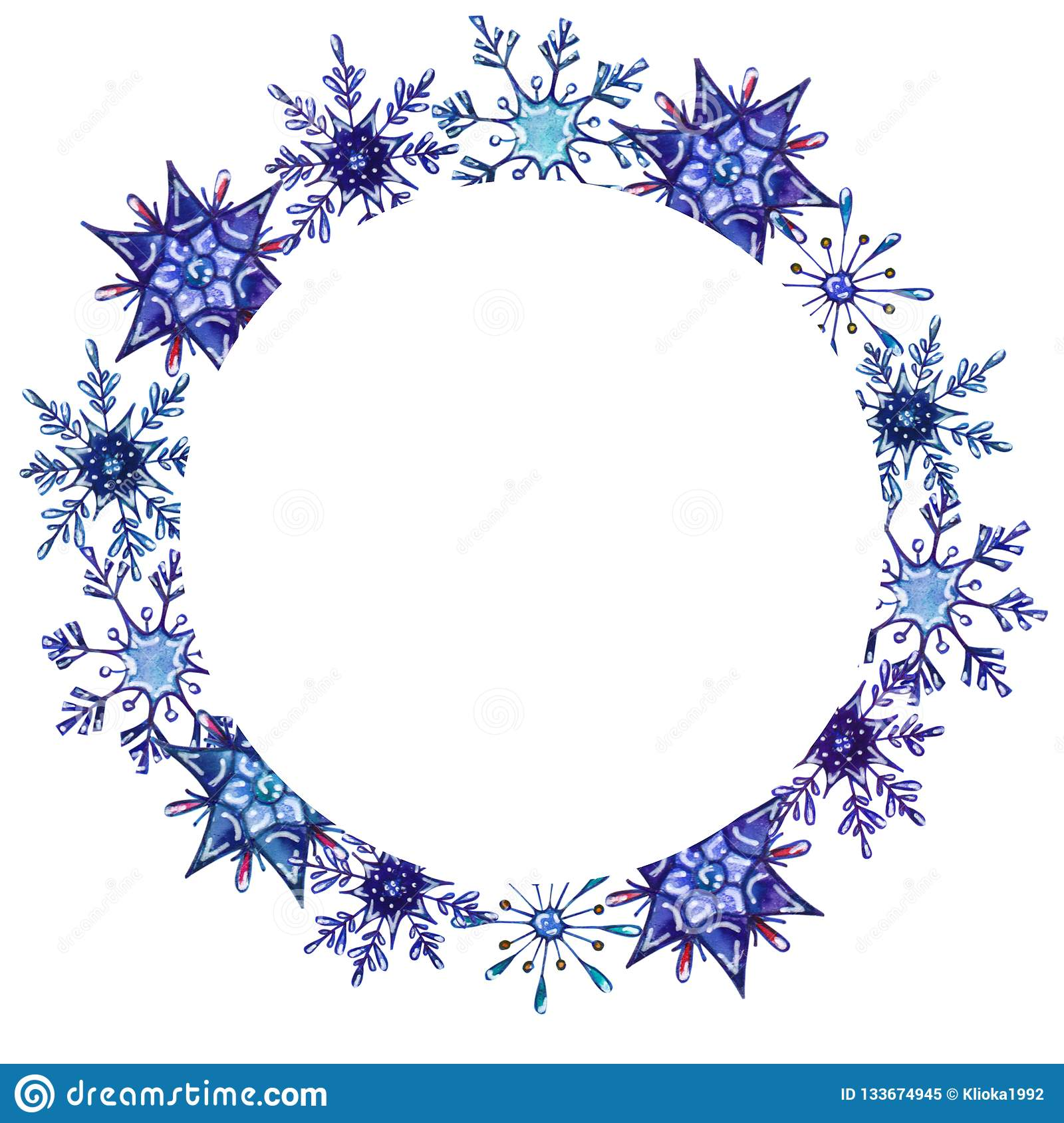 round snowflake template  Watercolor Snowflakes Round Frame Template Stock ...