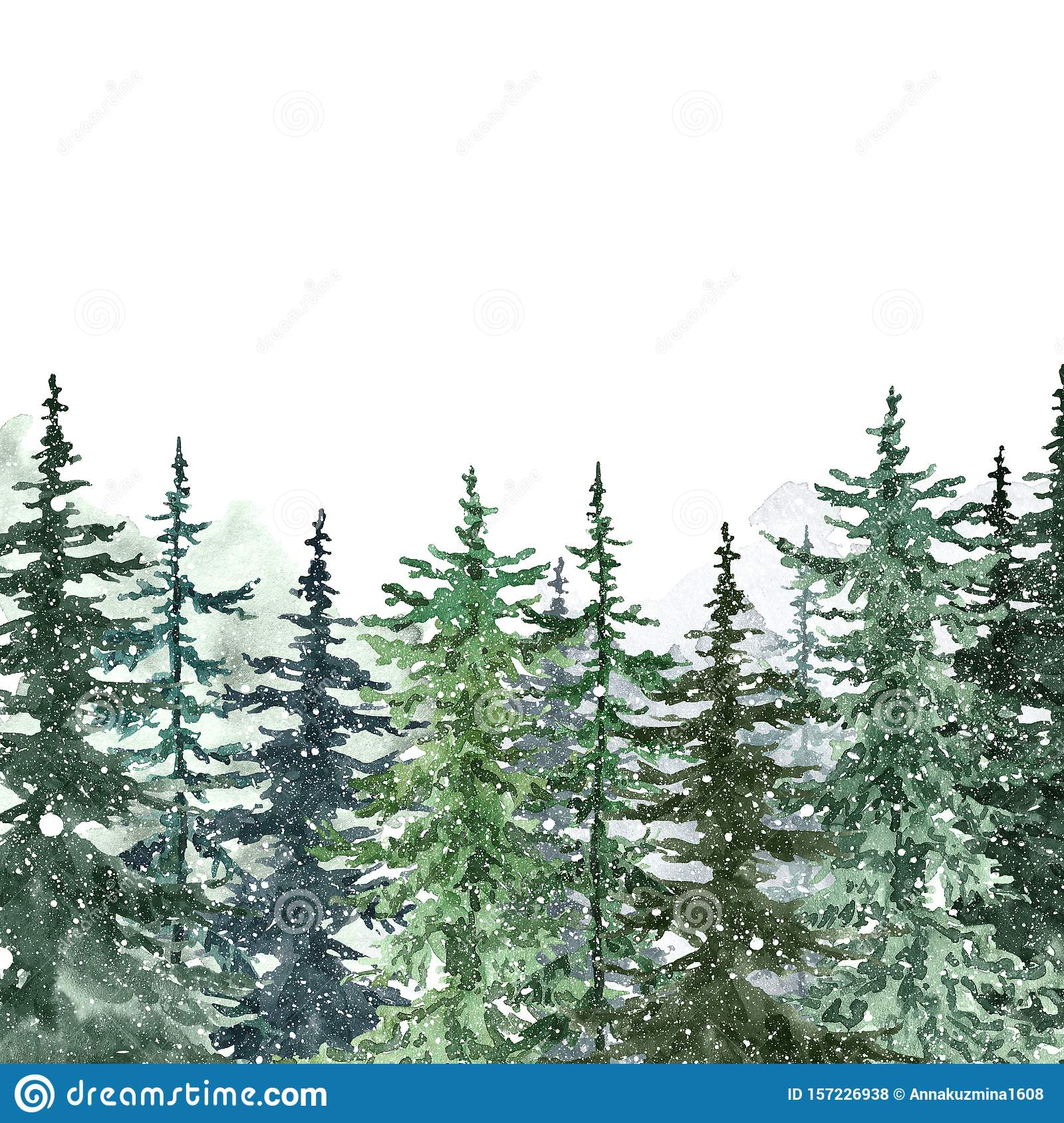 watercolor snowy pine trees background banner with hand painted forest and falling snow on white winter wonderland stock illustration illustration of silhouette greenery 157226938 https www dreamstime com watercolor snowy pine trees background banner hand painted pine forest falling snowon white winter wonderland watercolor image157226938
