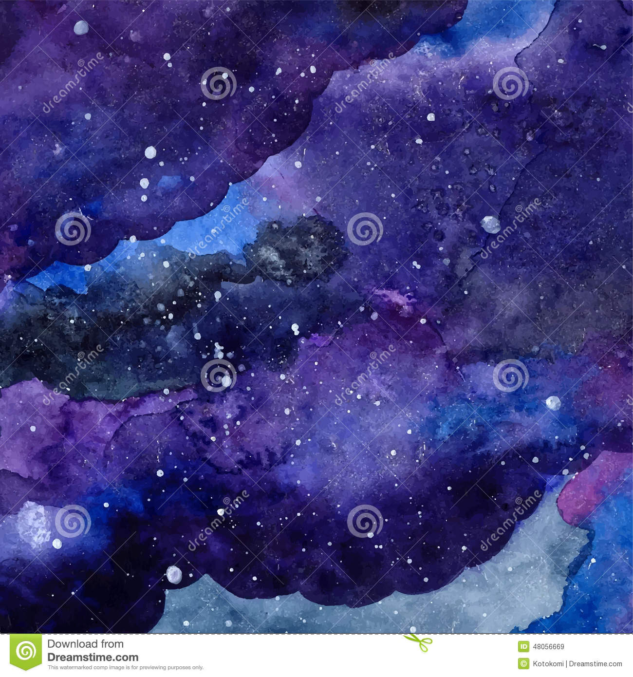 Watercolor Space Texture With Glowing Stars Night Starry