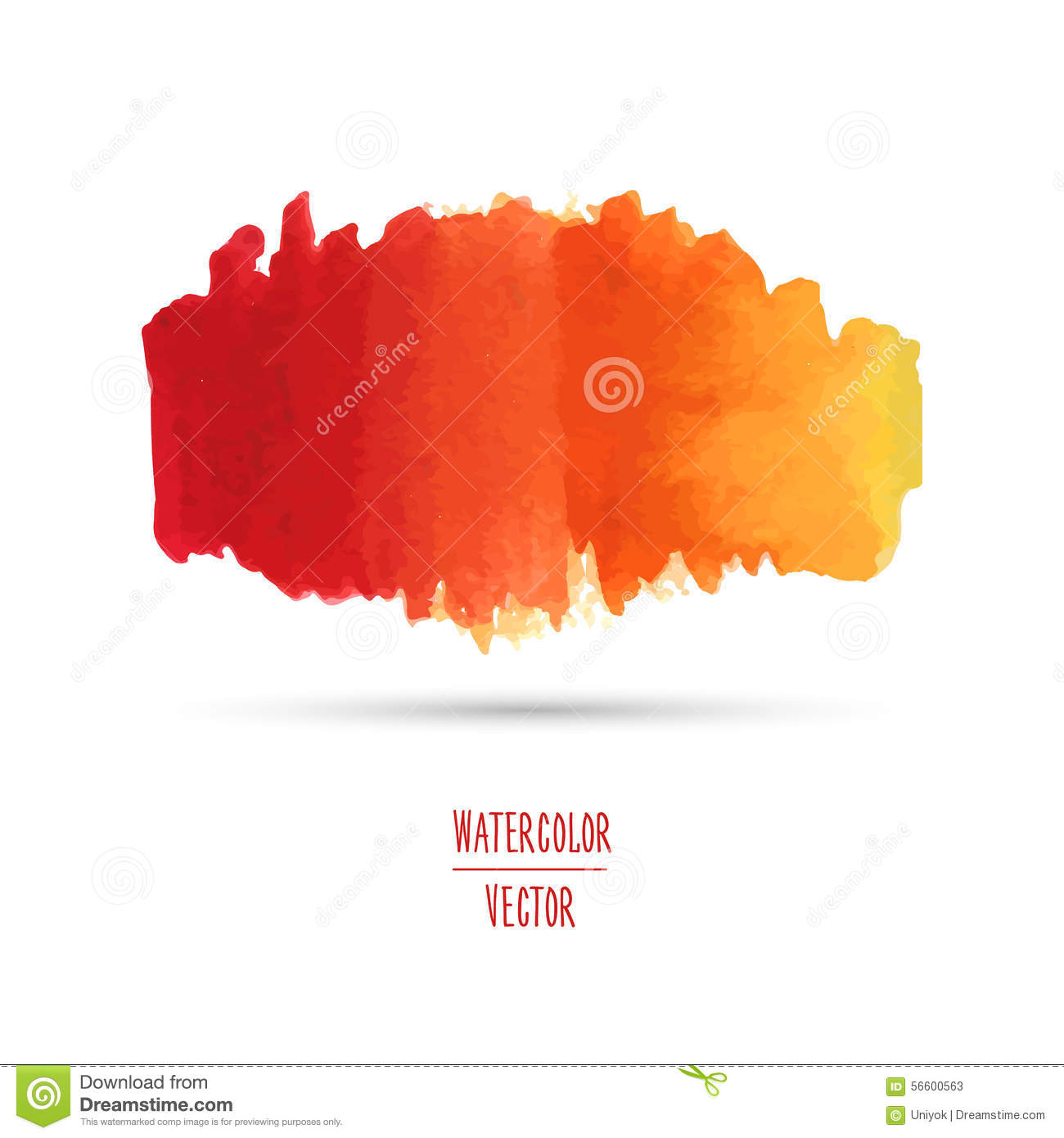 Watercolor Spot With A Gradient From Red To Yellow Stock Vector