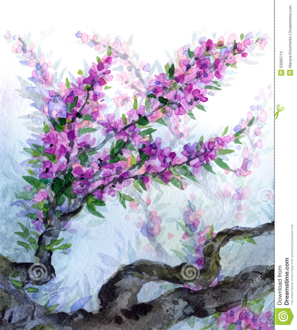Watercolor Spring Background Purple Flowers On Tree Branches Stock