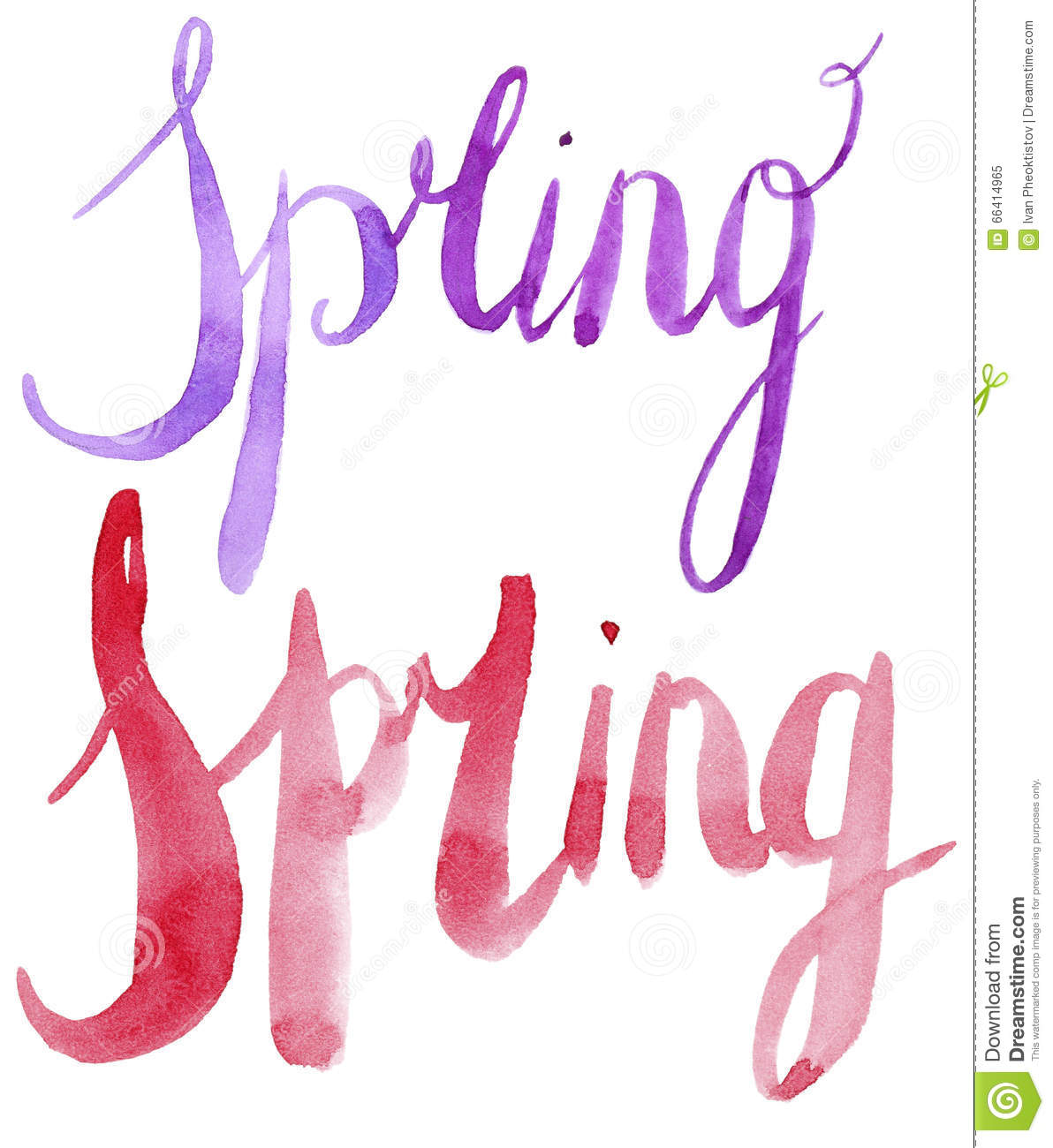 Watercolor Spring Calligraphy Script Stock Photo Image