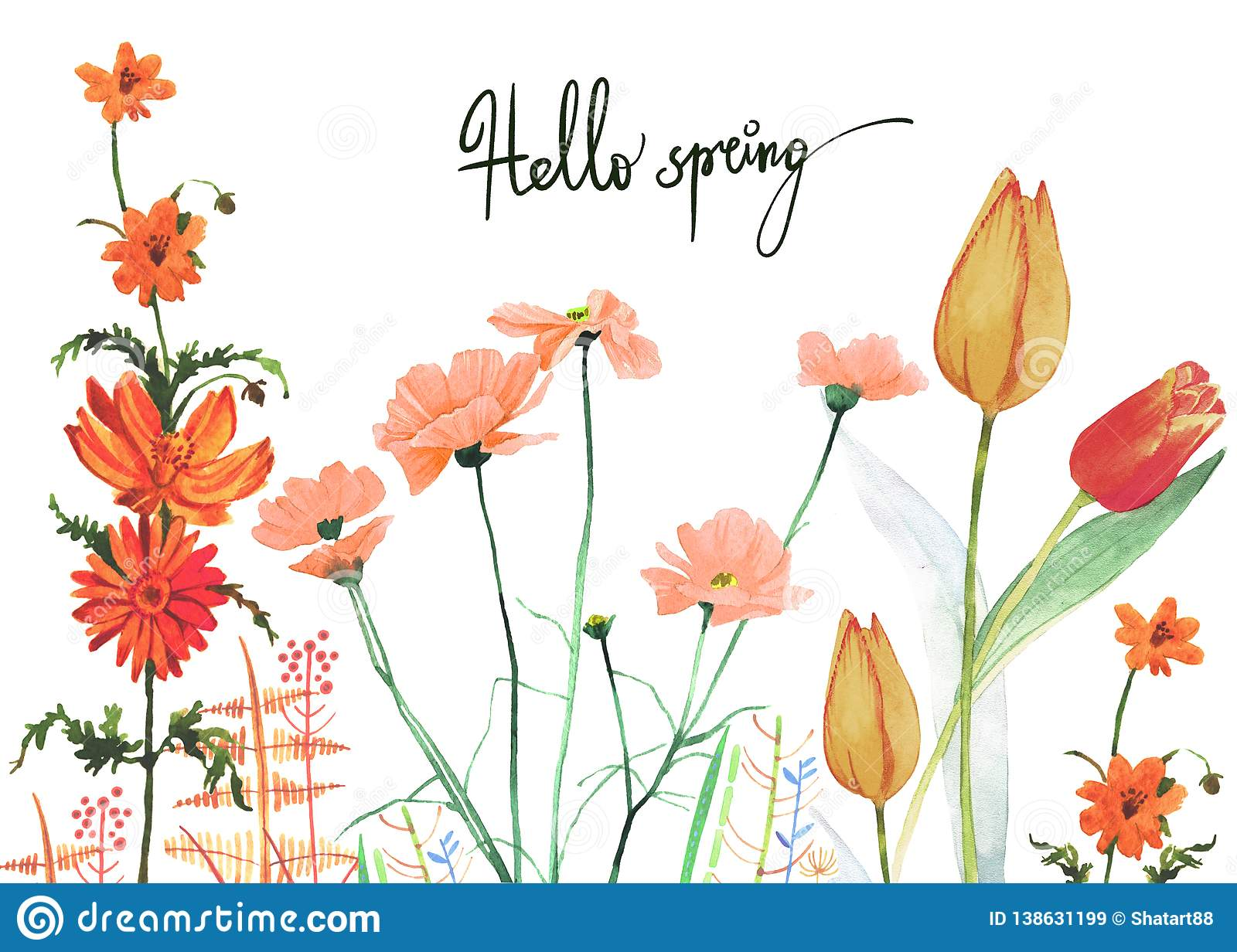 Watercolor Spring Colorful Flowers Growing Illustration Stock Illustration Illustration Of Flowers Design 138631199