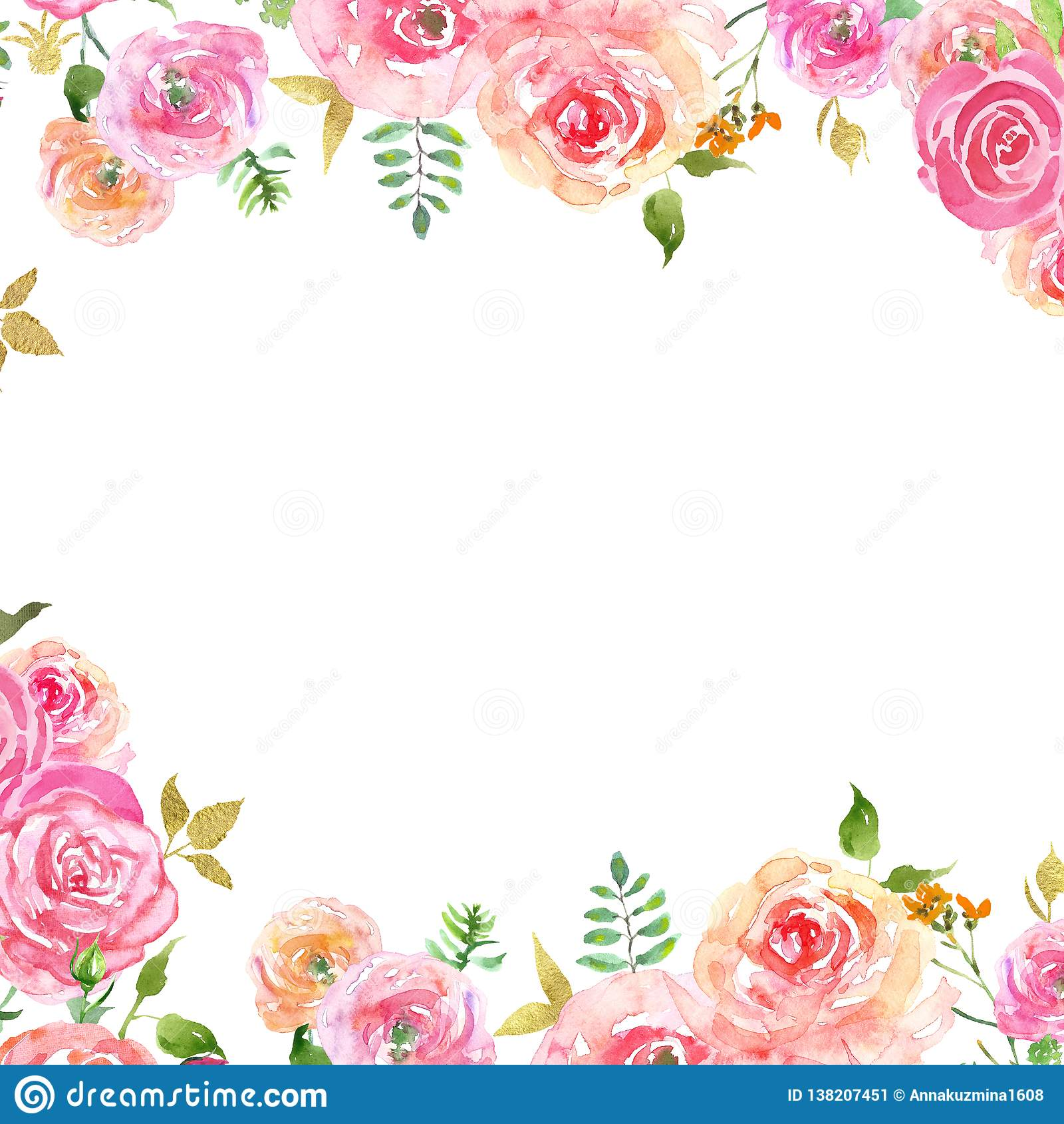 Watercolor Spring Floral Frame With Blush Pink Petals And Gold