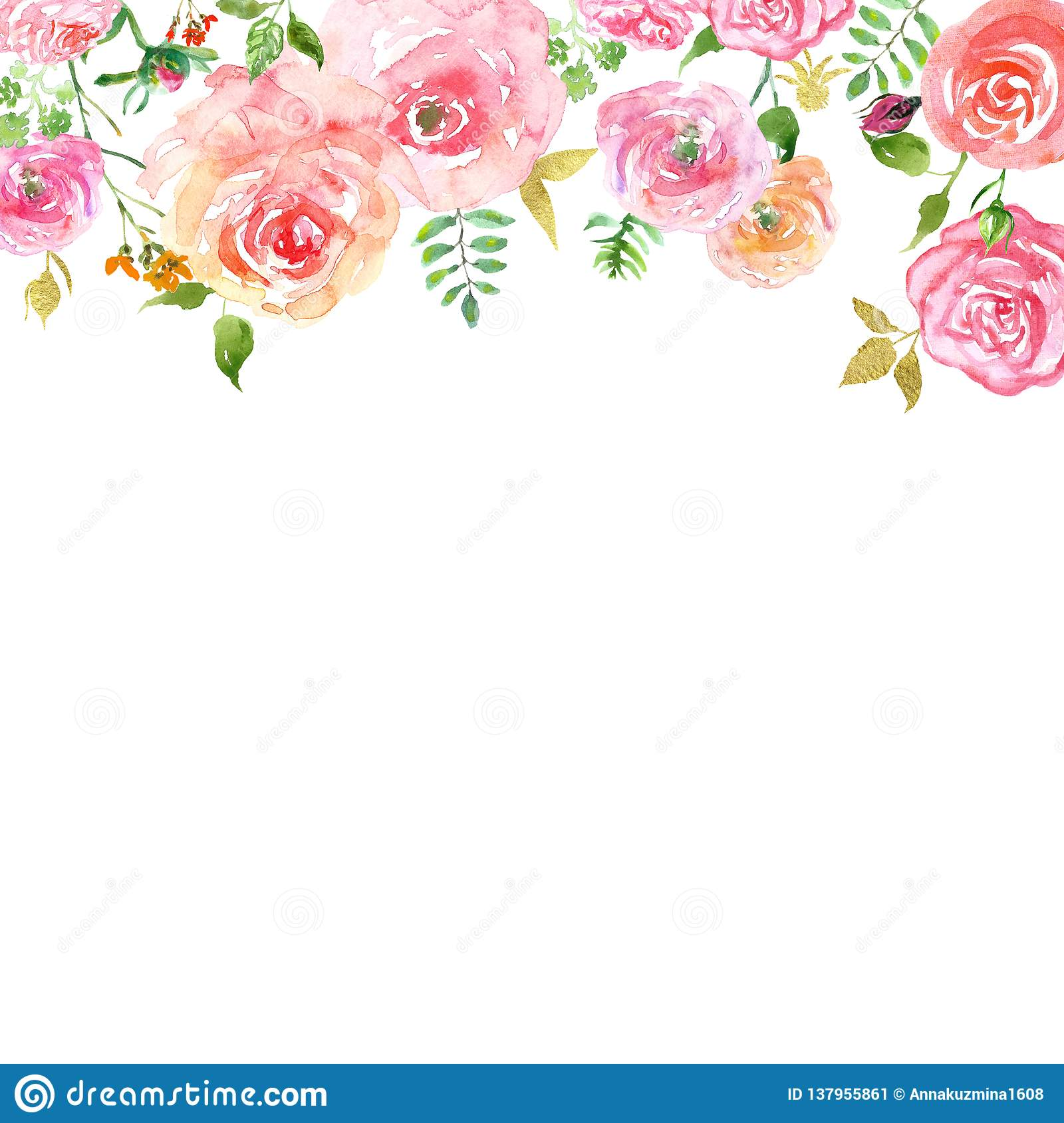 Watercolor Spring Floral Header With Hand Painted Blush Pink Roses