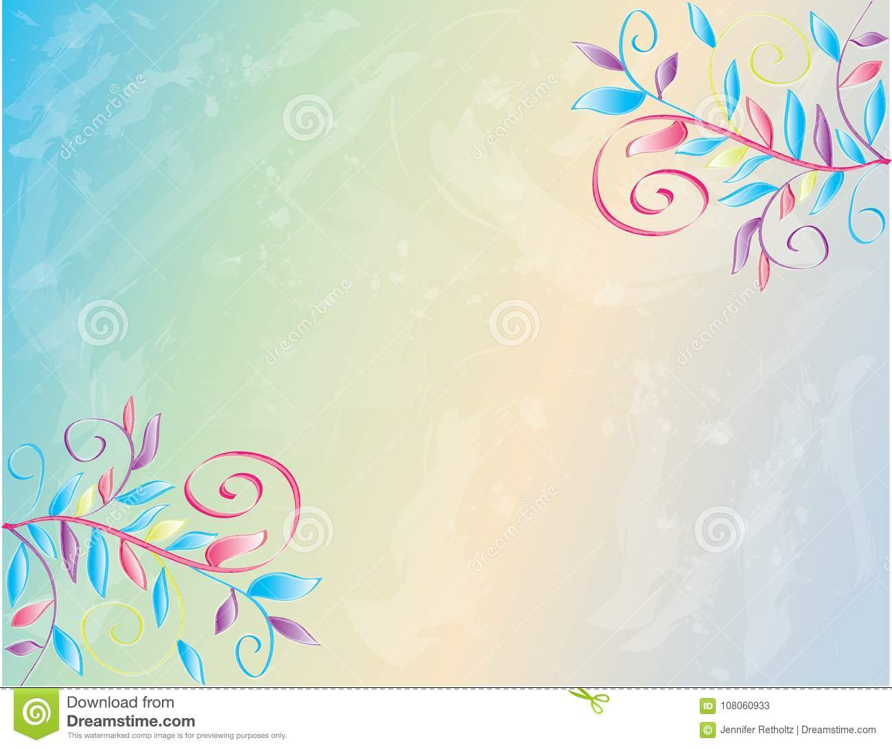 Watercolor Spring Floral Poster Wallpaper Background Stock