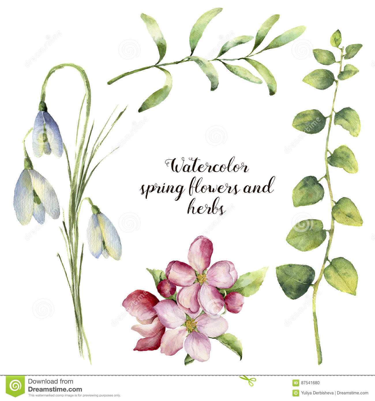 Watercolor Spring Flowers And Herbs Floral Set With Snowdrops
