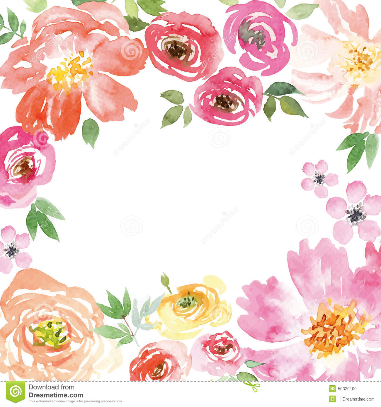 Watercolor Spring Flowers Stock Vector Illustration Of Ground 50320100