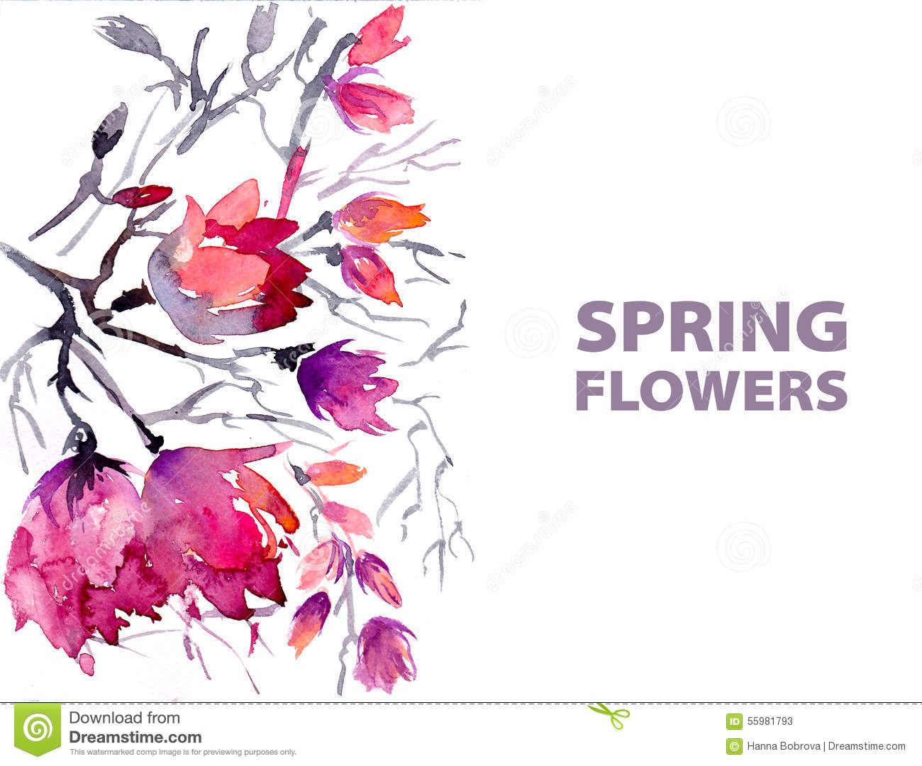 Watercolor Spring Flowers Stock Vector Illustration Of Easter
