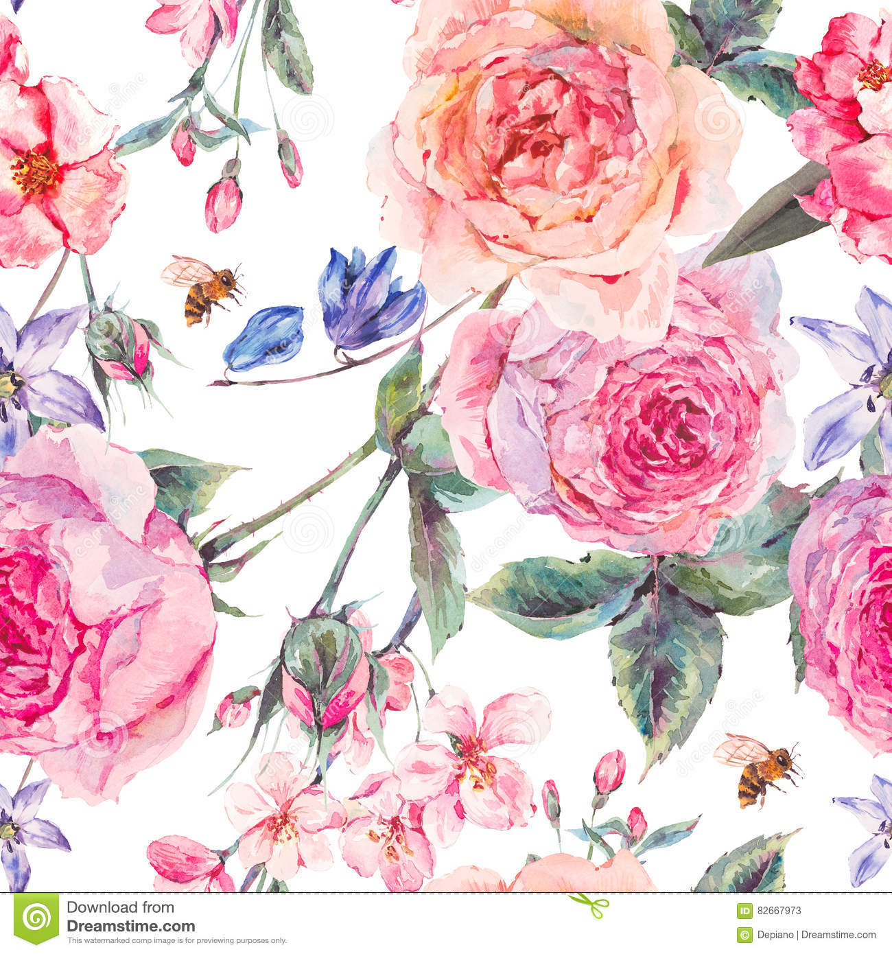 Watercolor Spring Seamless Border With English Roses Stock