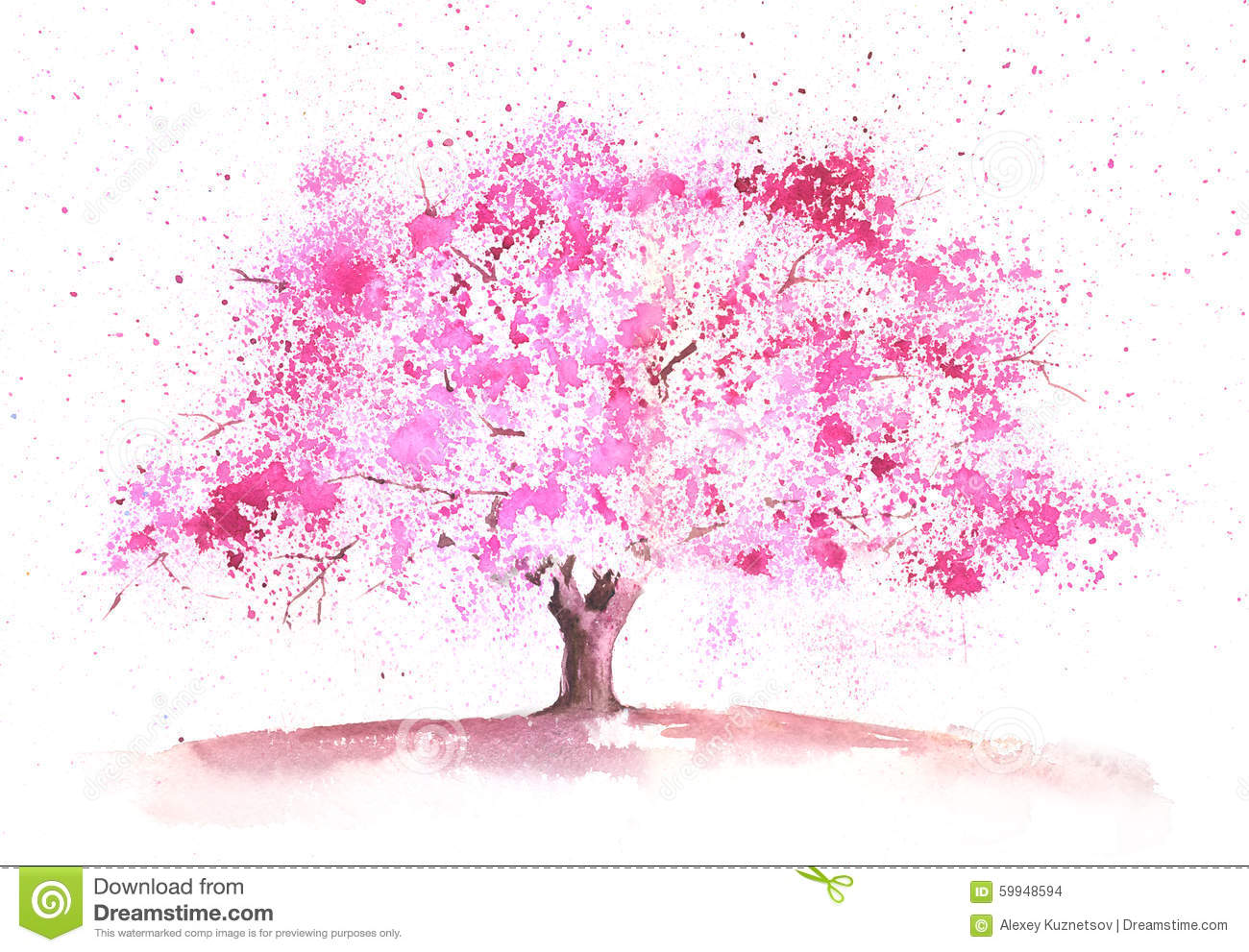 Watercolor Spring Tree Stock Illustration Image 59948594