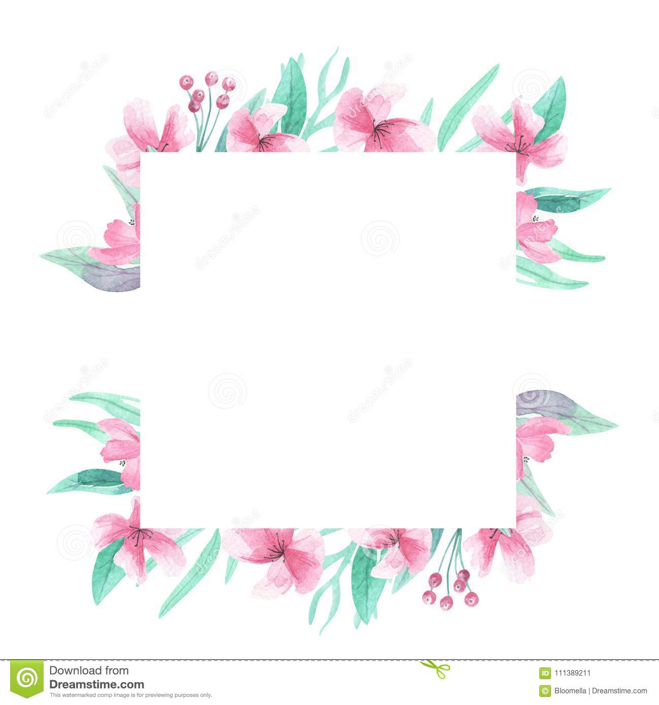 pink flowers square frame watercolor aqua green arch floral border