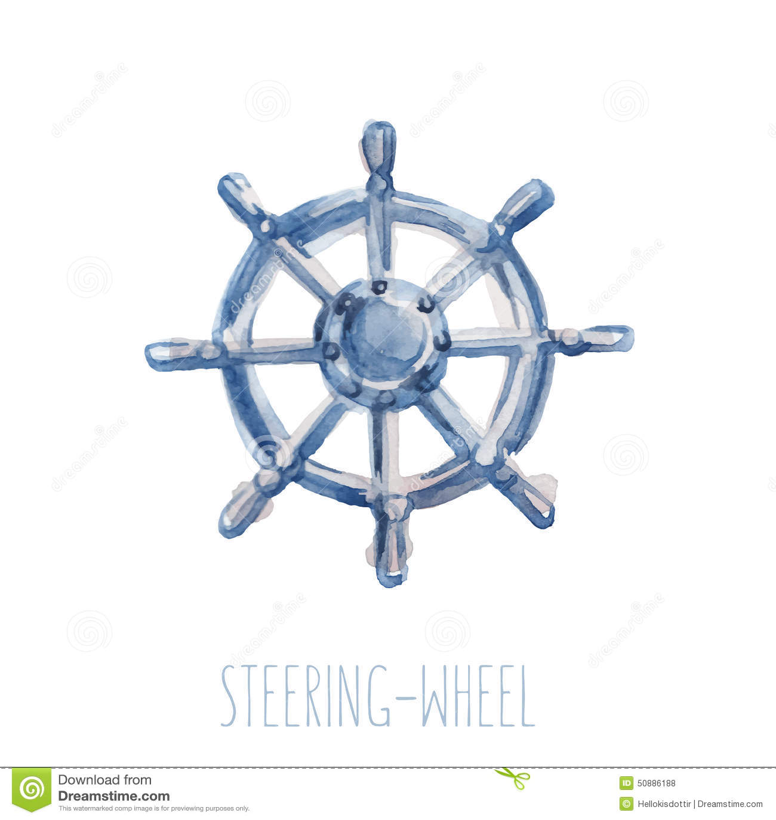 Watercolor Steering-wheel Stock Vector - Image: 50886188