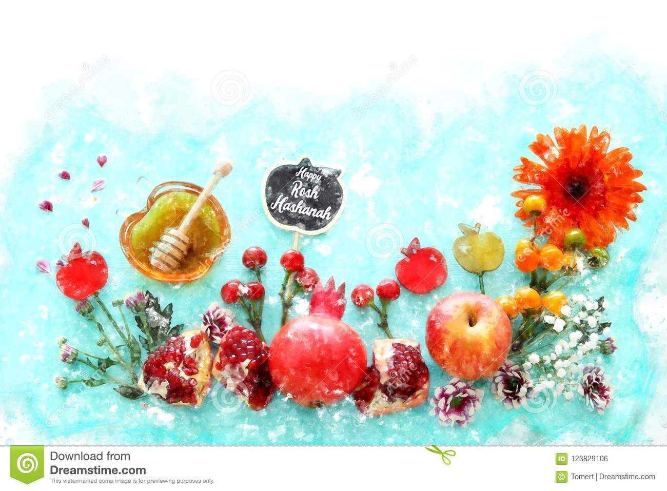 Watercolor Style And Abstract Image Of Rosh Hashanah Jewish New Year