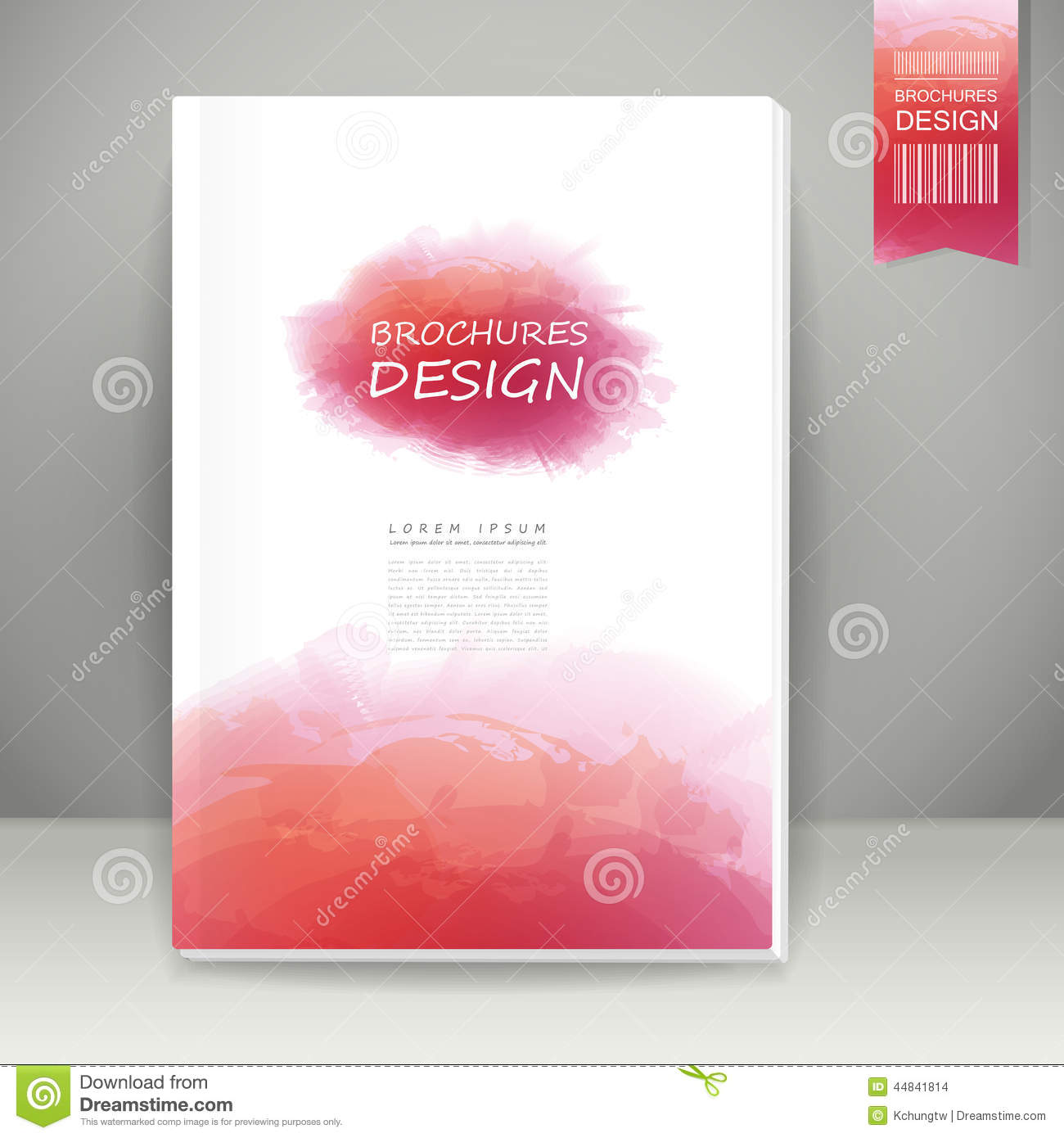 Watercolor style brochure design in pink