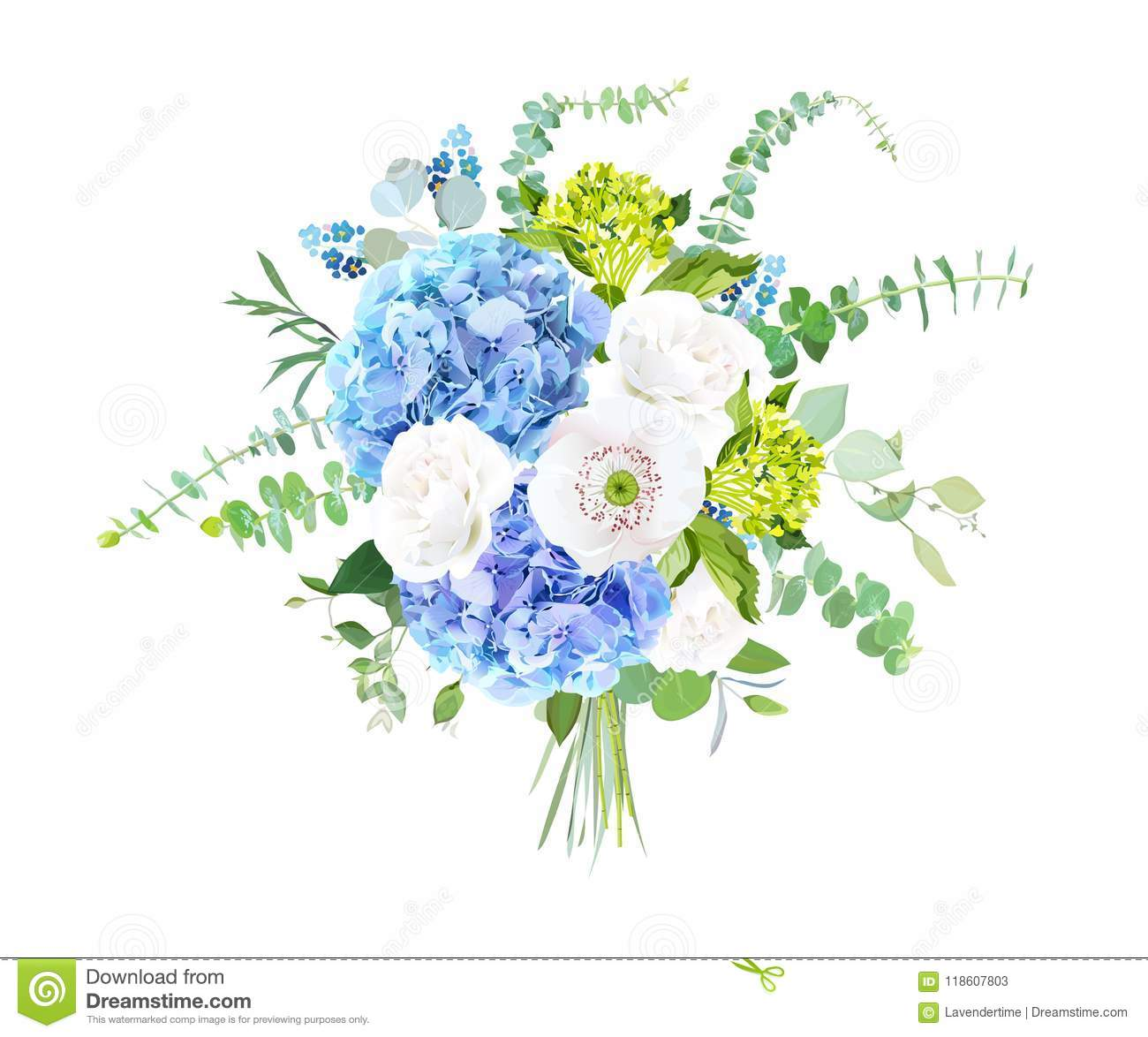 Watercolor Style Flowers Bouquet Stock Vector Illustration Of Herbal Card 118607803