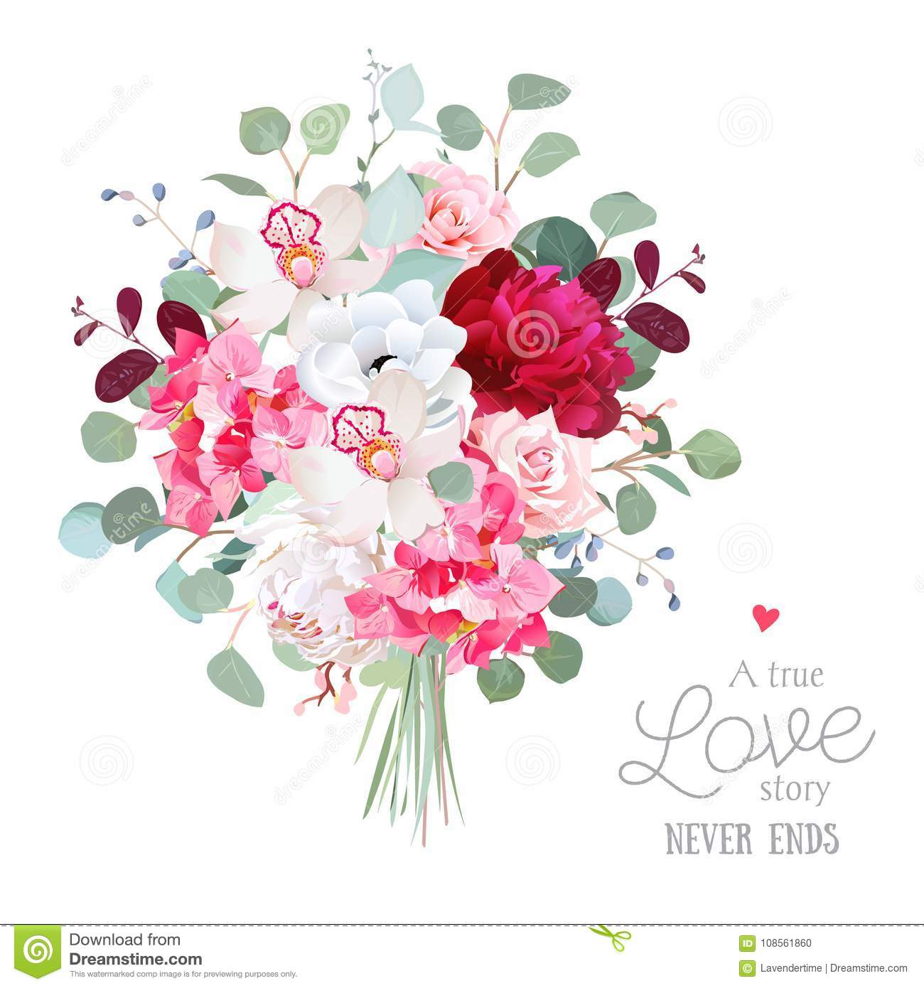 Watercolor Style Flowers Bouquet. Stock Vector - Illustration of ...