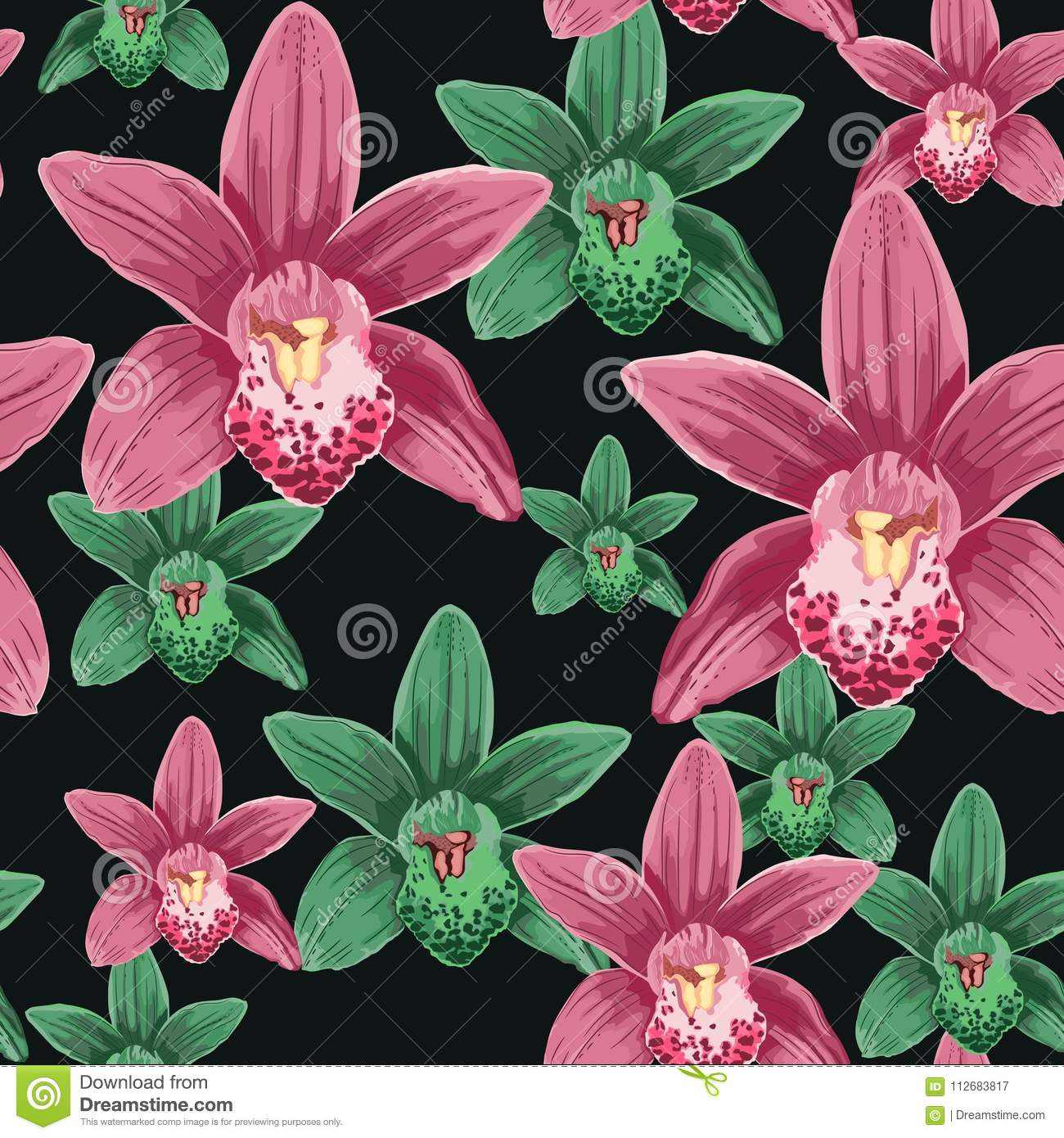 Watercolor style seamless pattern with orchid flowers.
