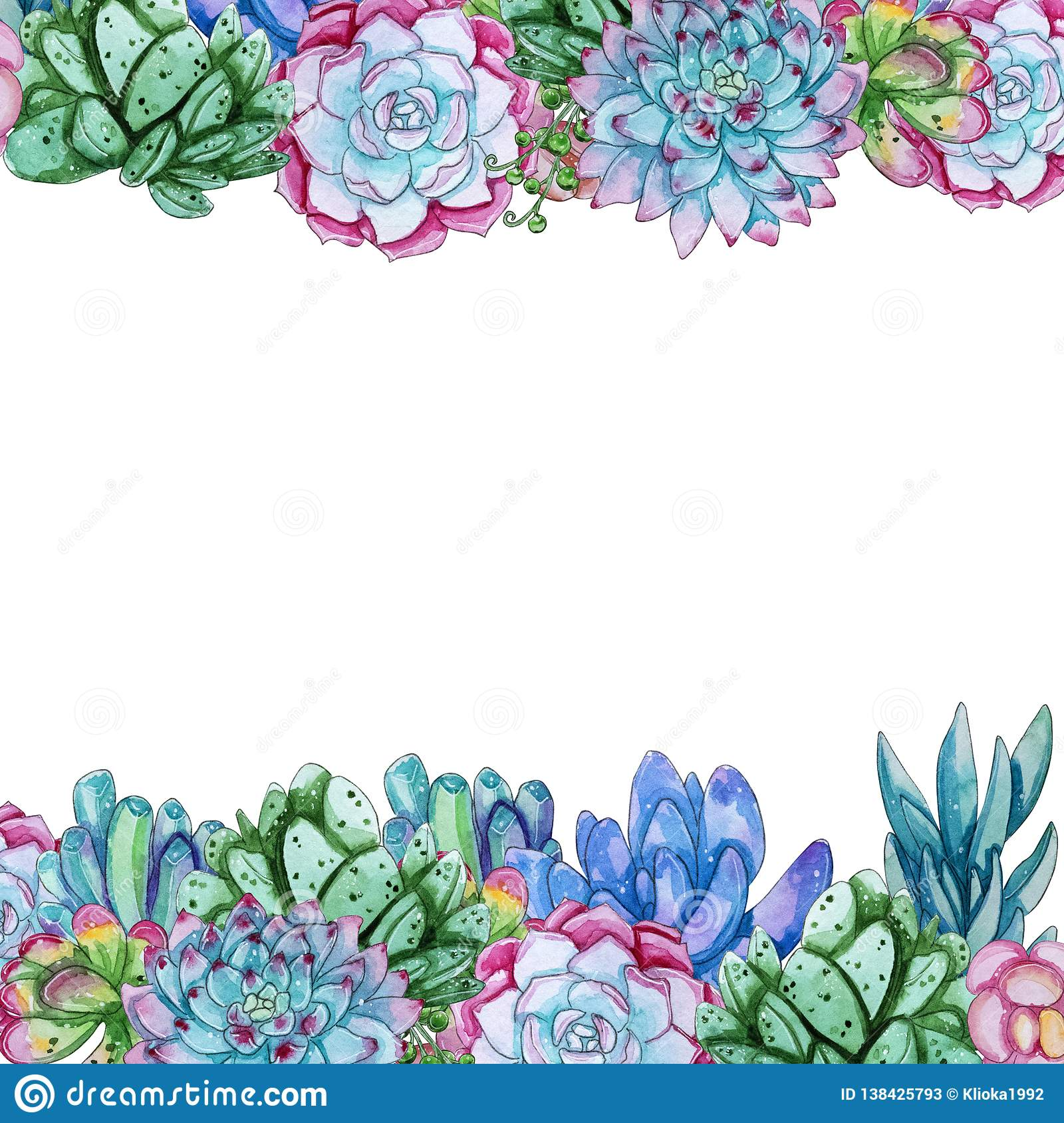 Watercolor Succulent Flowers Template Isolated On White Background Stock Illustration Illustration Of Foliage Natural 138425793