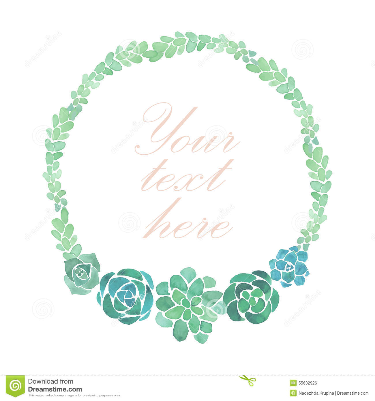 Watercolor Succulents Frame Stock Vector - Image: 55602926