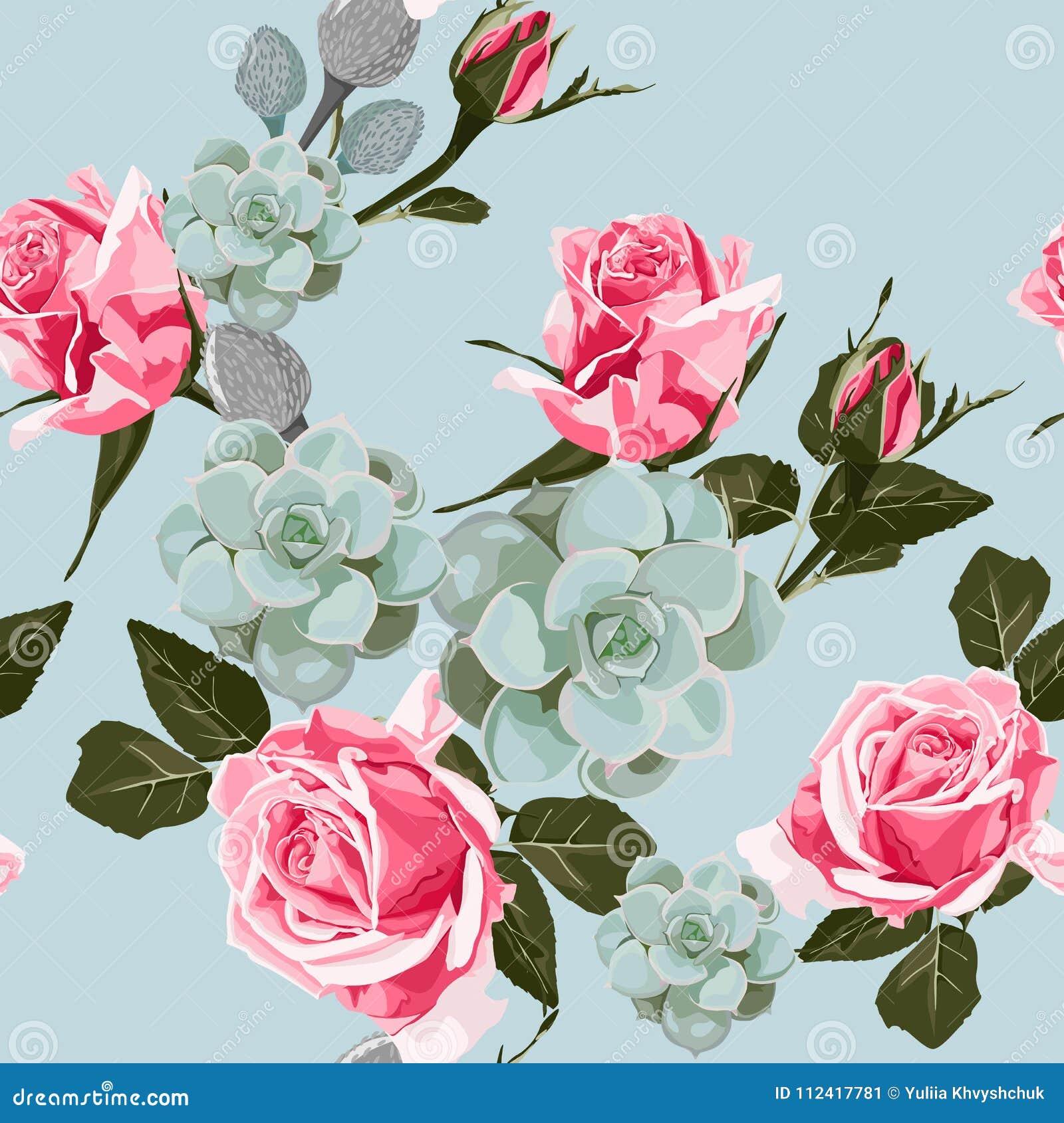 Beautiful Vintage Roses Pattern Trendy Summer Watercolor Style