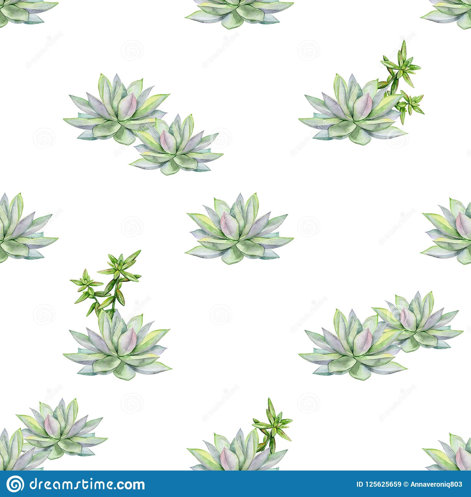 Watercolor Succulents Seamless Pattern Illustration Stock Illustration Illustration Of Nature Invitation 125625659