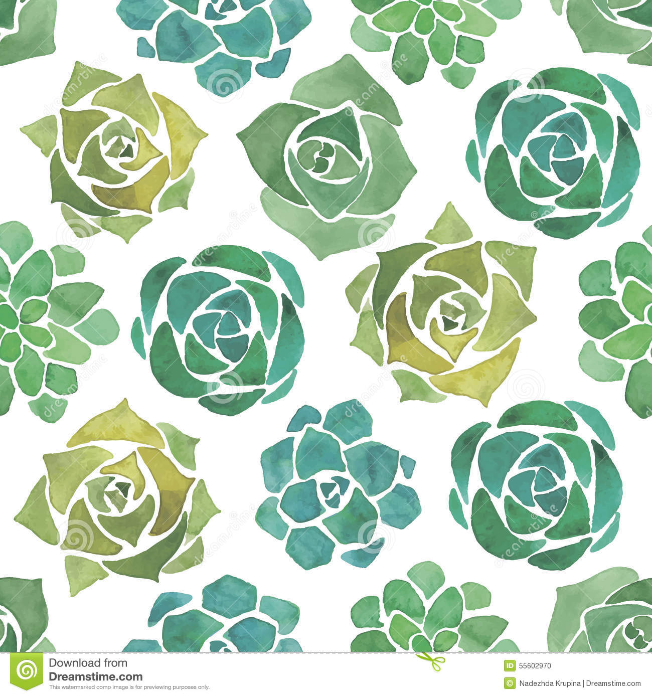 Watercolor Succulents Seamless Pattern Stock Vector