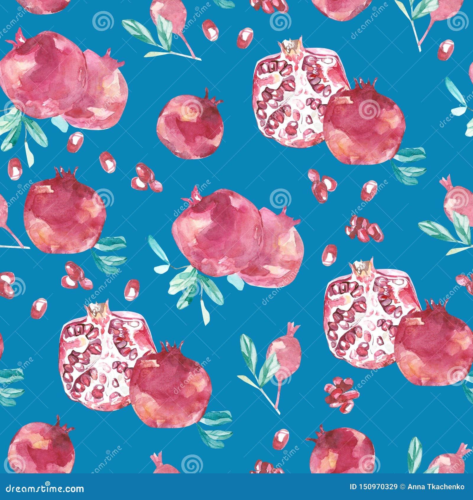 Watercolor Summer Botanical Floral Fruit Pattern
