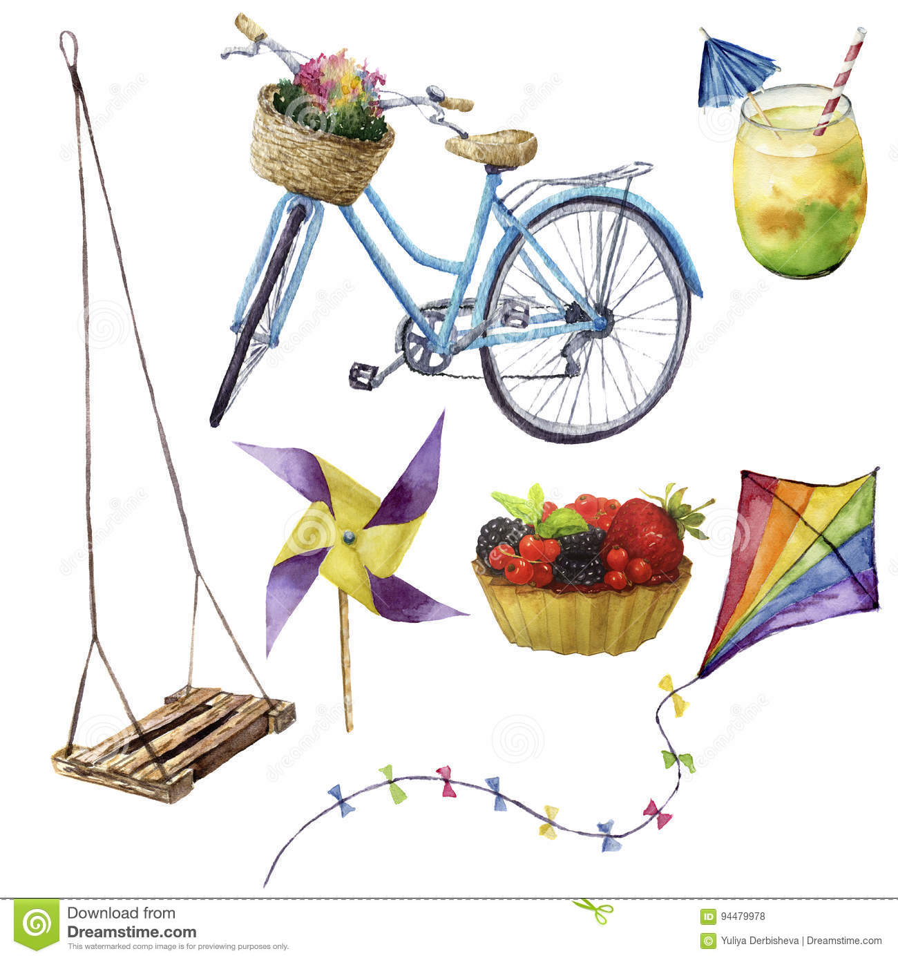 Watercolor summer pleasures set. Hand painted summer vacation objects: swing, cocktail, kait, fruit cake, bike and