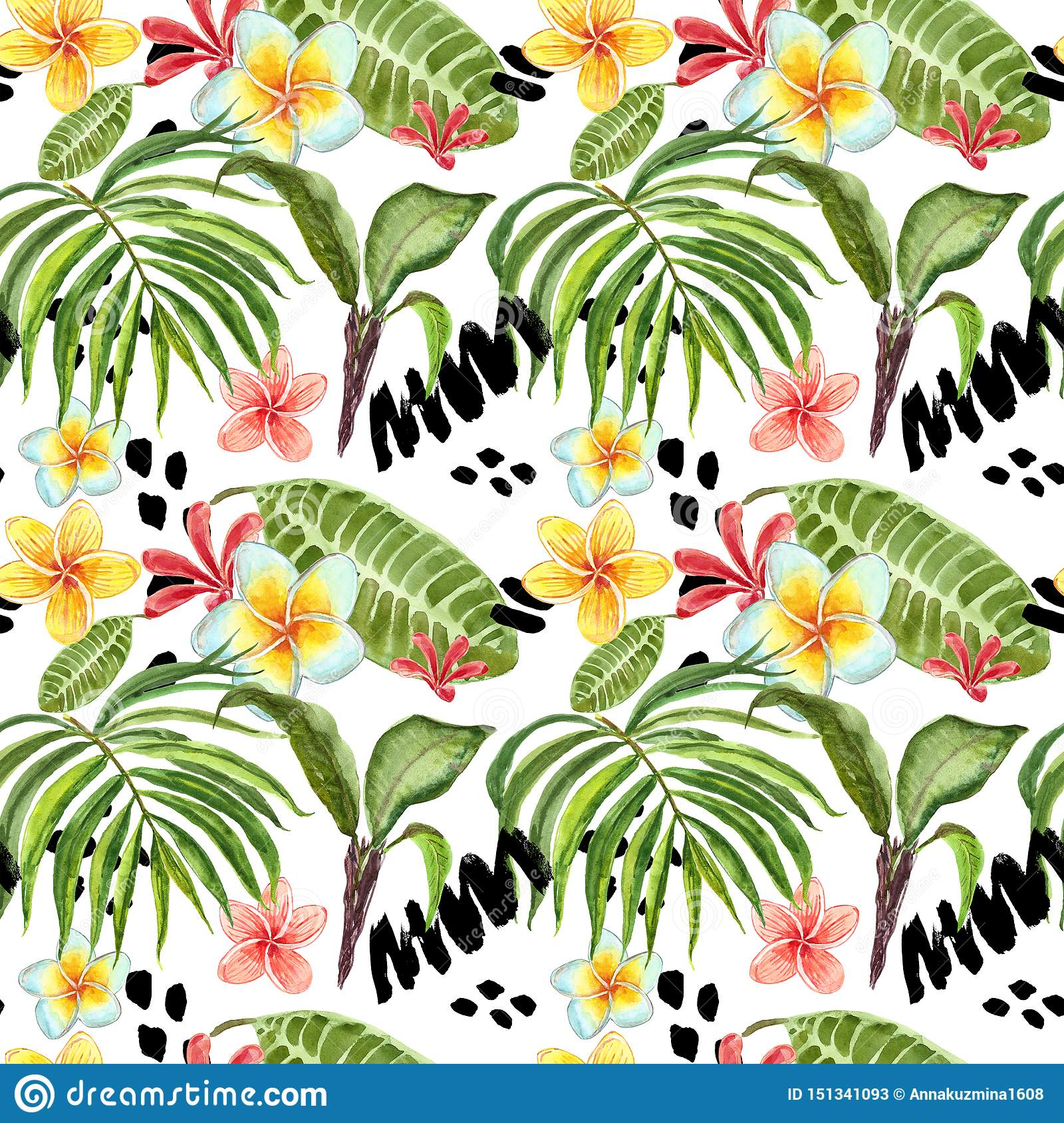 Watercolor tropical leaves seamless pattern. Hand painted palm leaf, exotic plumeria flowers and green foliage on white background