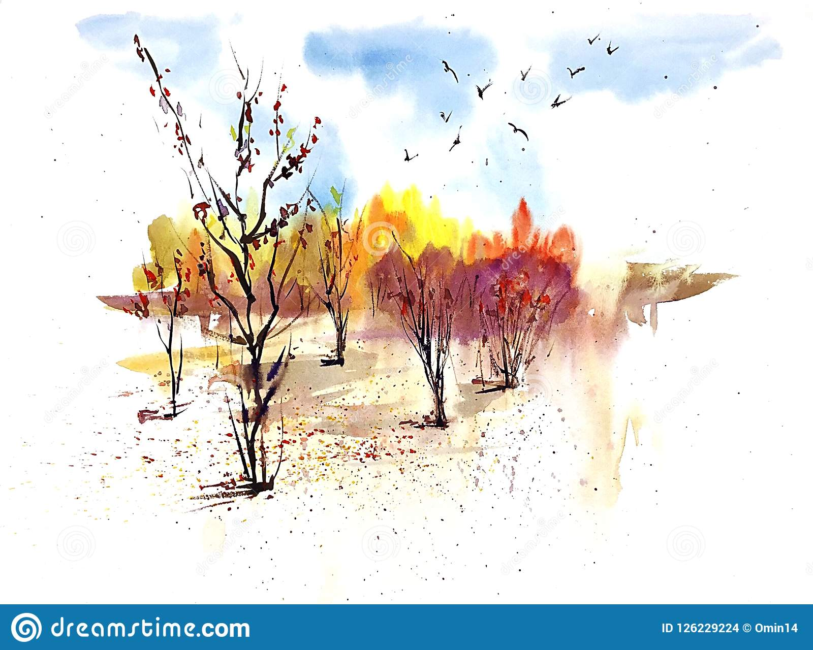 Watercolor sunny autumn landscape with golden trees and blue sky