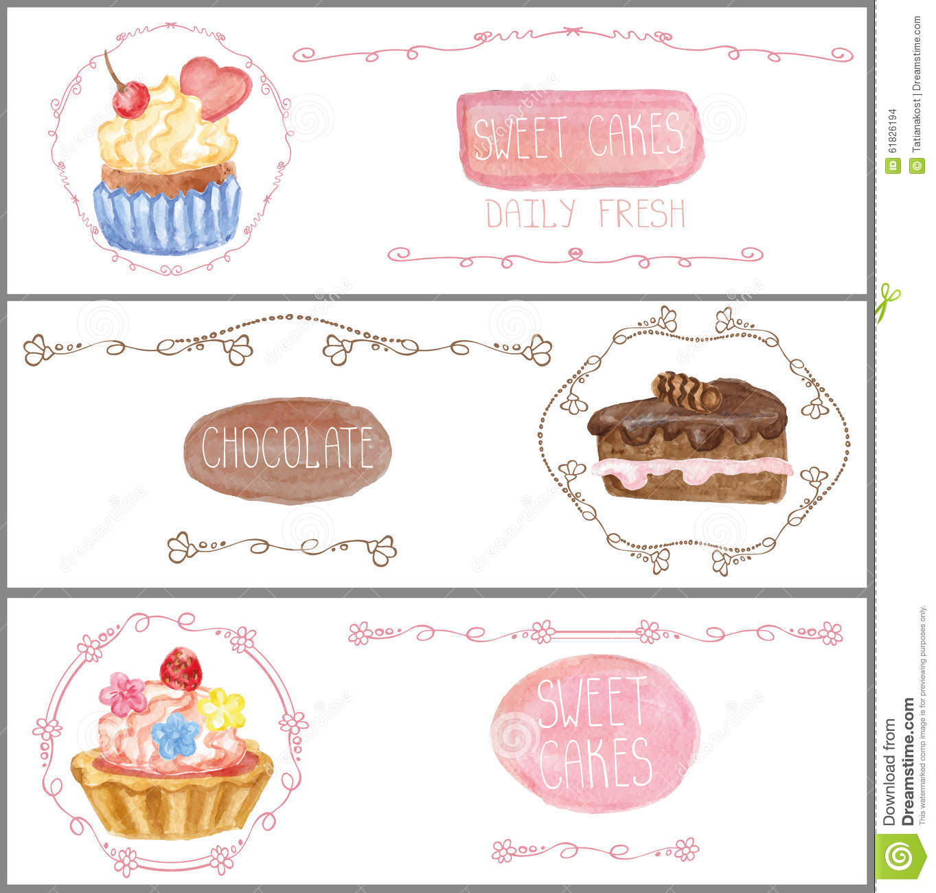Watercolor Sweet Cakes Tags Labels Banners Set Stock