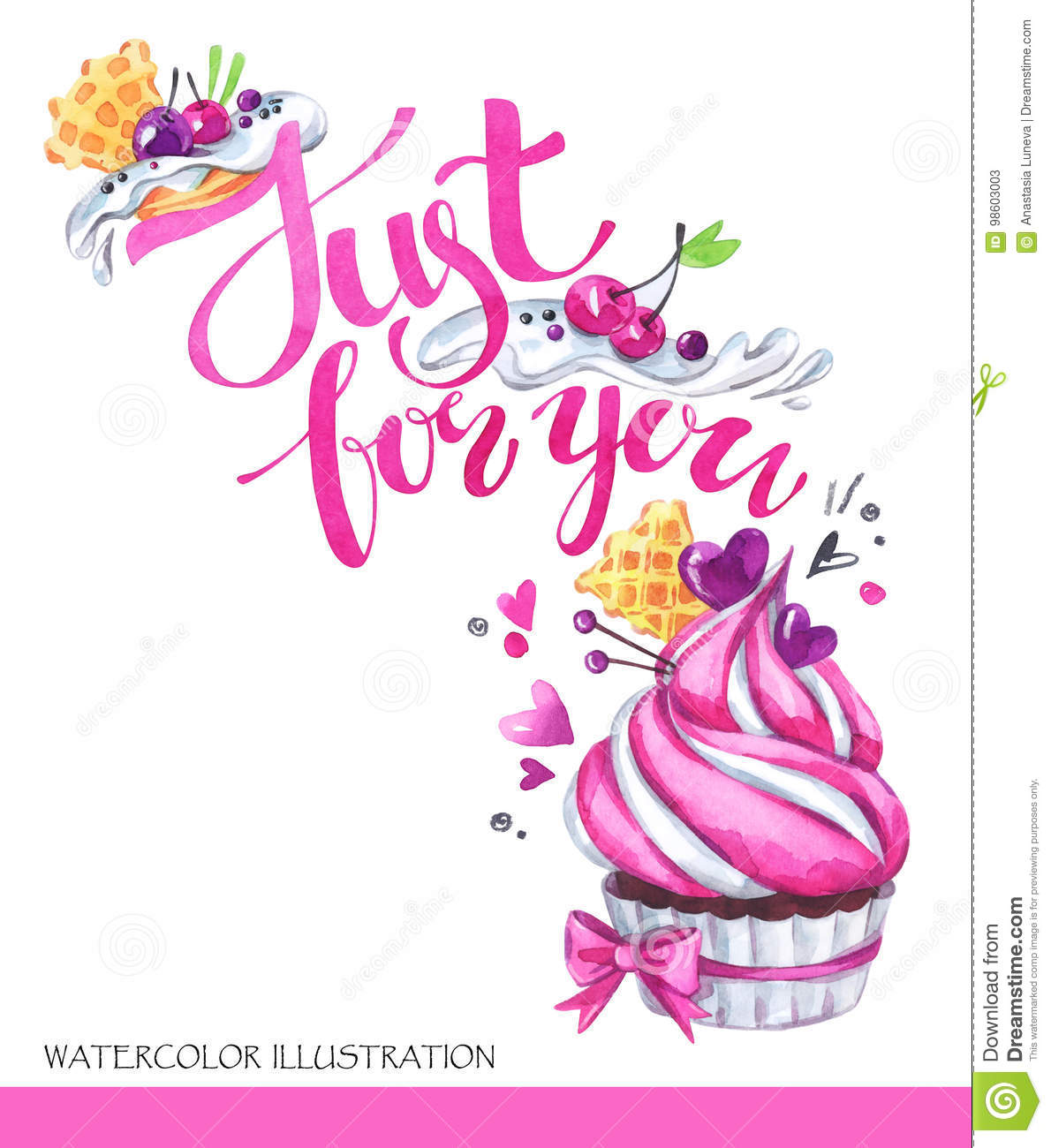 watercolor tasty dessert congratulation card with pleasant words