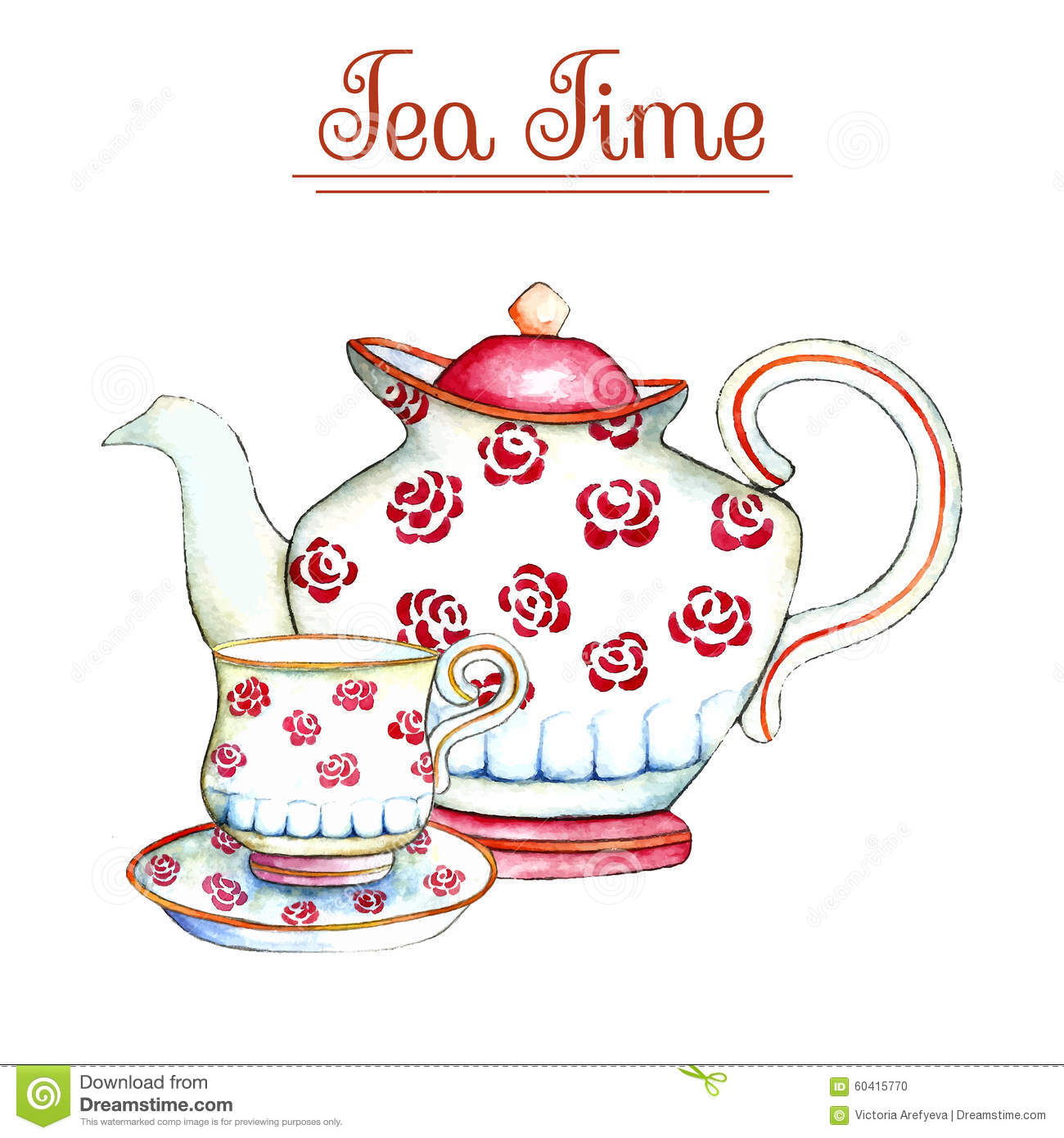 Watercolor Teapot And Cup Vector Illustration