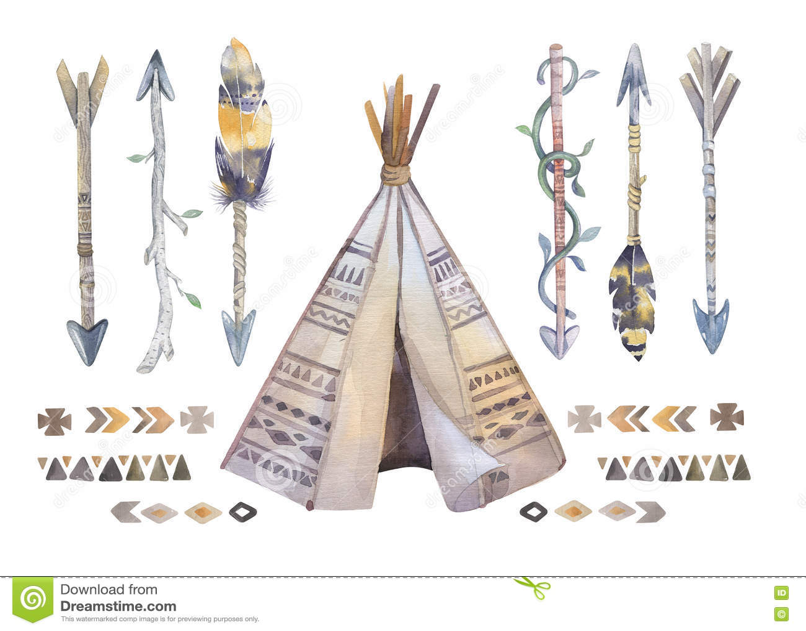 Watercolor Teepee Arrows Fearhers And Tomahawk Boho America Stock Illustration Image 72217272