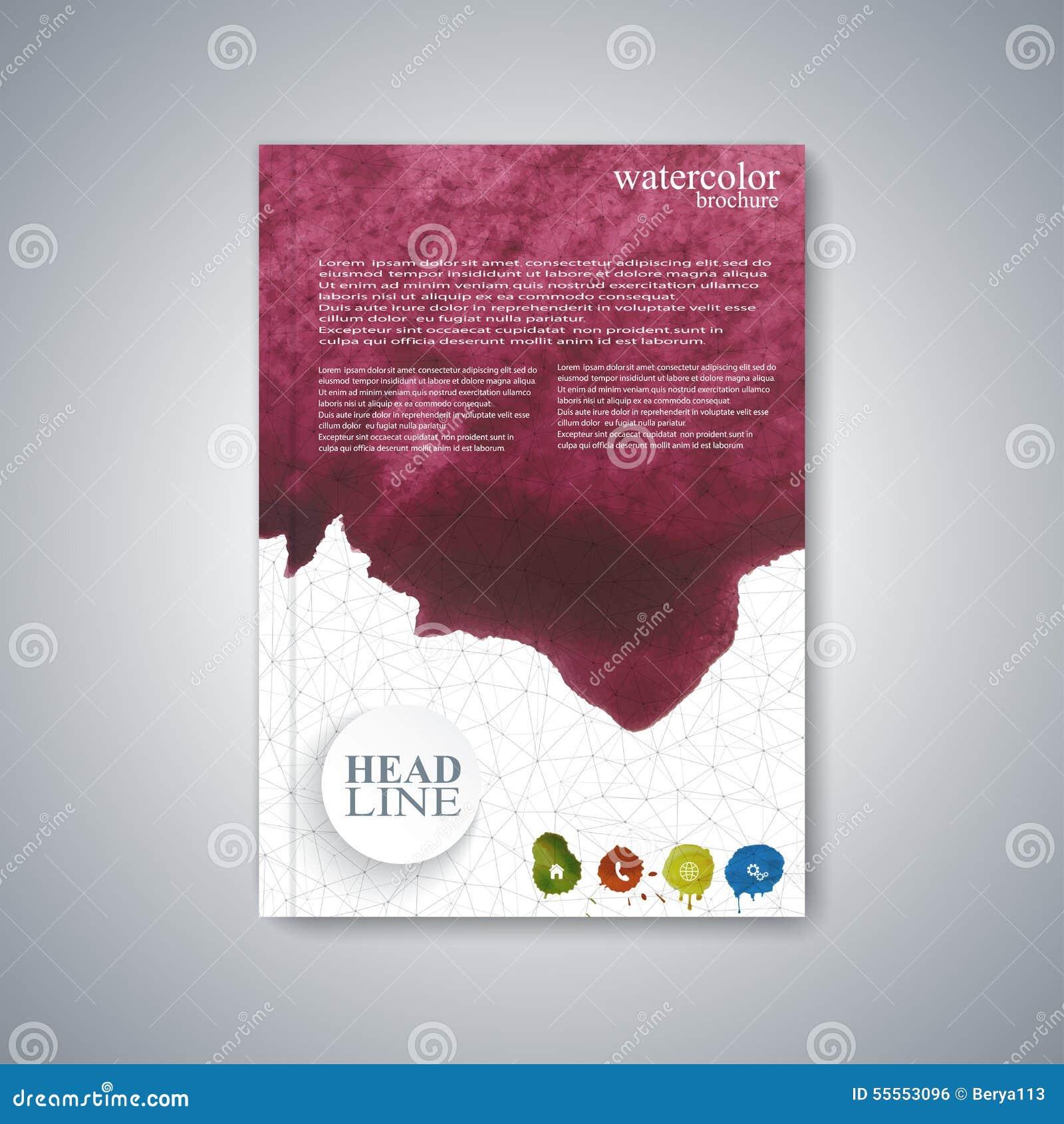 Watercolor Template Brochure, Magazine, Flyer Stock Vector